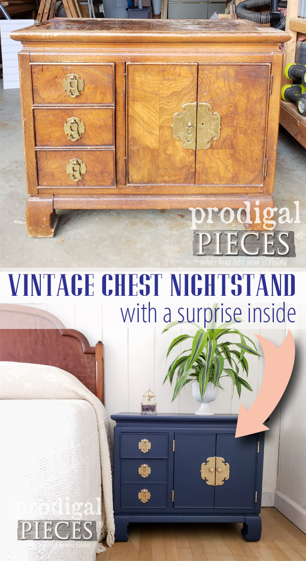 Wow! What a makeover! This vintage chest nightstand was worn out and ready for a new look. See how Larissa of Prodigal Pieces got it done DIY style | Head to prodigalpieces.com #prodigalpieces #furniture #vintage #home #homedecor #homedecorideas #bedroom