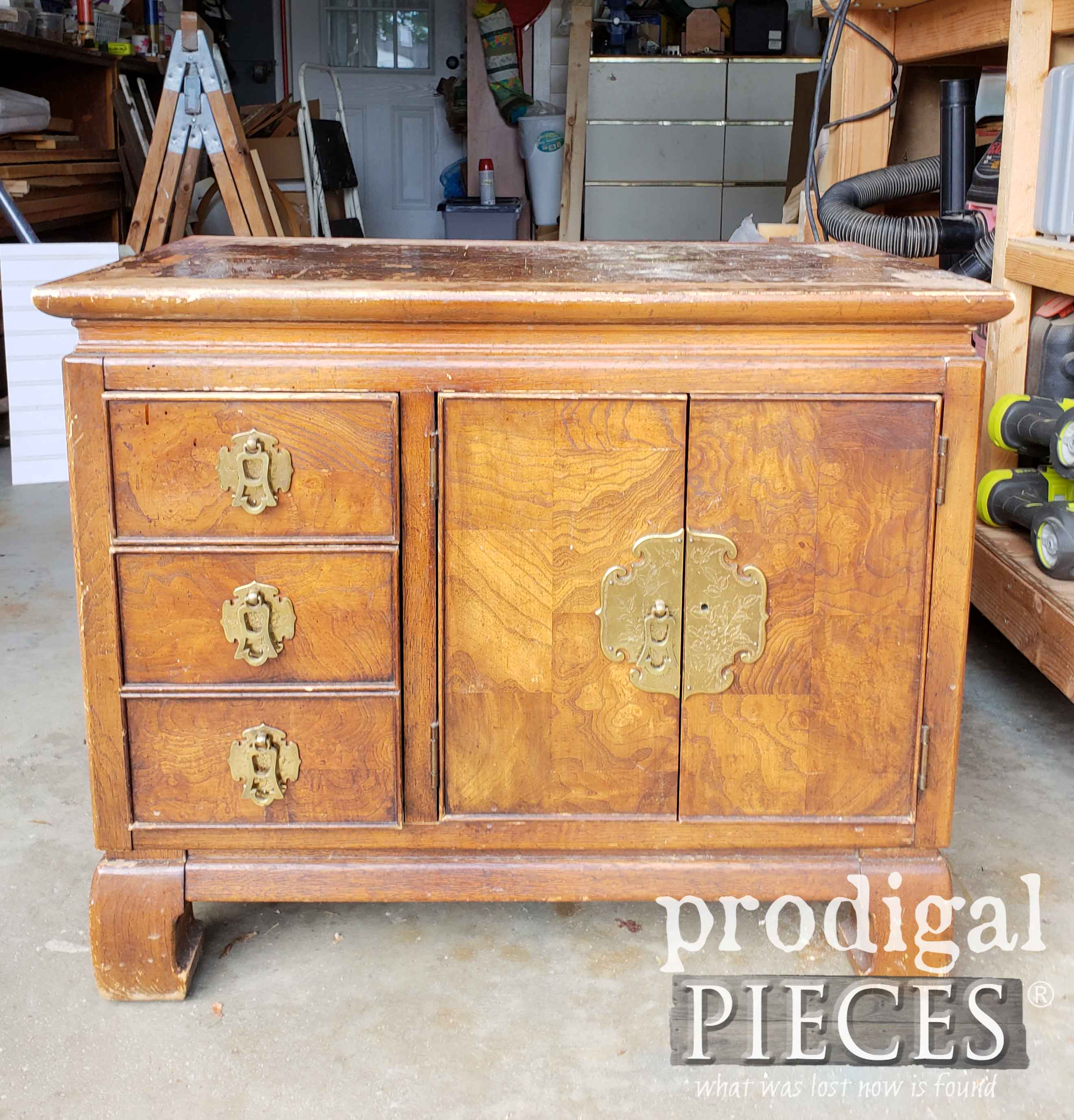 Vintage Chest Nightstand Before Makeover by Larissa of Prodigal Pieces | prodigalpieces.com