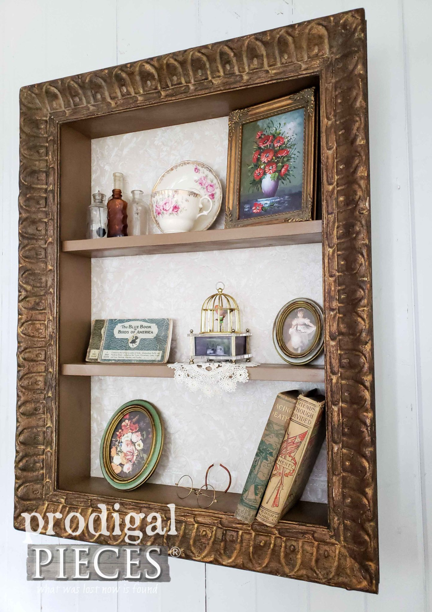 Vintage Picture Frame Turned Decorative Shelf by Larissa of Prodigal Pieces | prodigalpieces.com