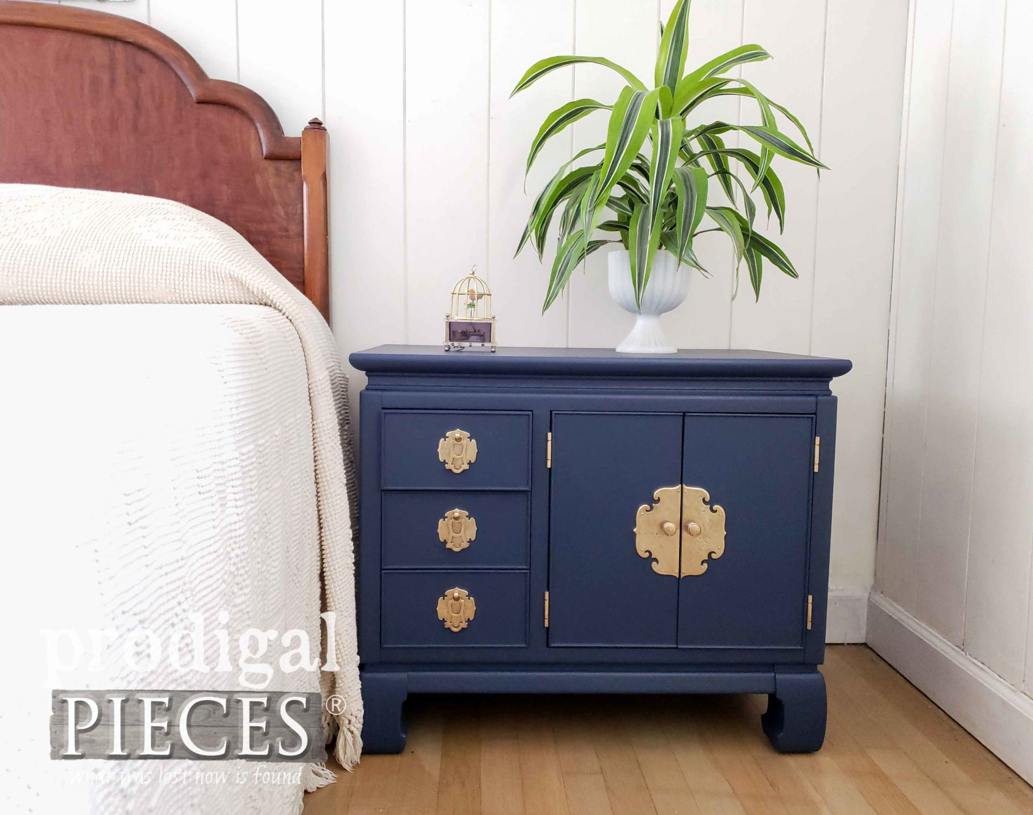 Vintage Style Boho Bedroom with Chest Nightstand by Larissa of Prodigal Pieces | prodigalpieces.com