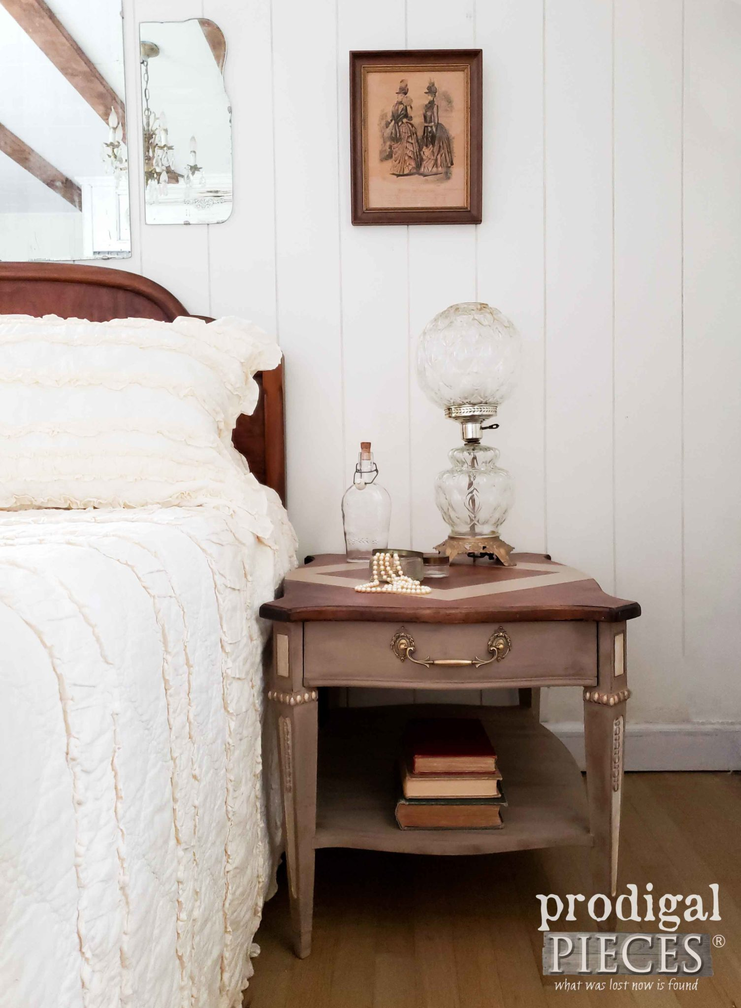Vintage Style Bedroom Decor with Beautiful Side Table by Larissa of Prodigal Pieces | prodigalpieces.com | #prodigalpieces #furniture #diy
