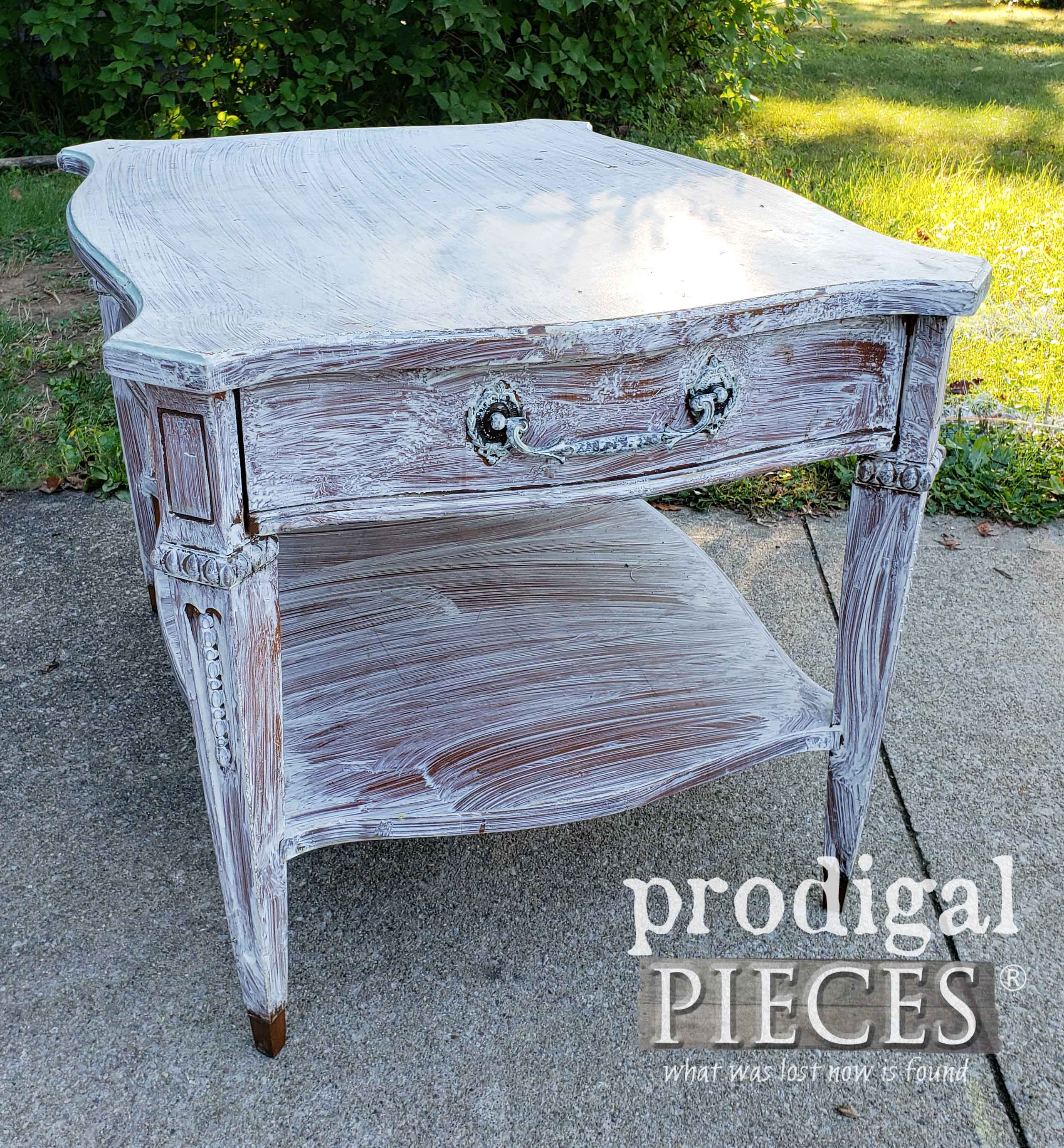 Vintage Side Table Before Makeover by Larissa of Prodigal Pieces | prodigalpieces.com
