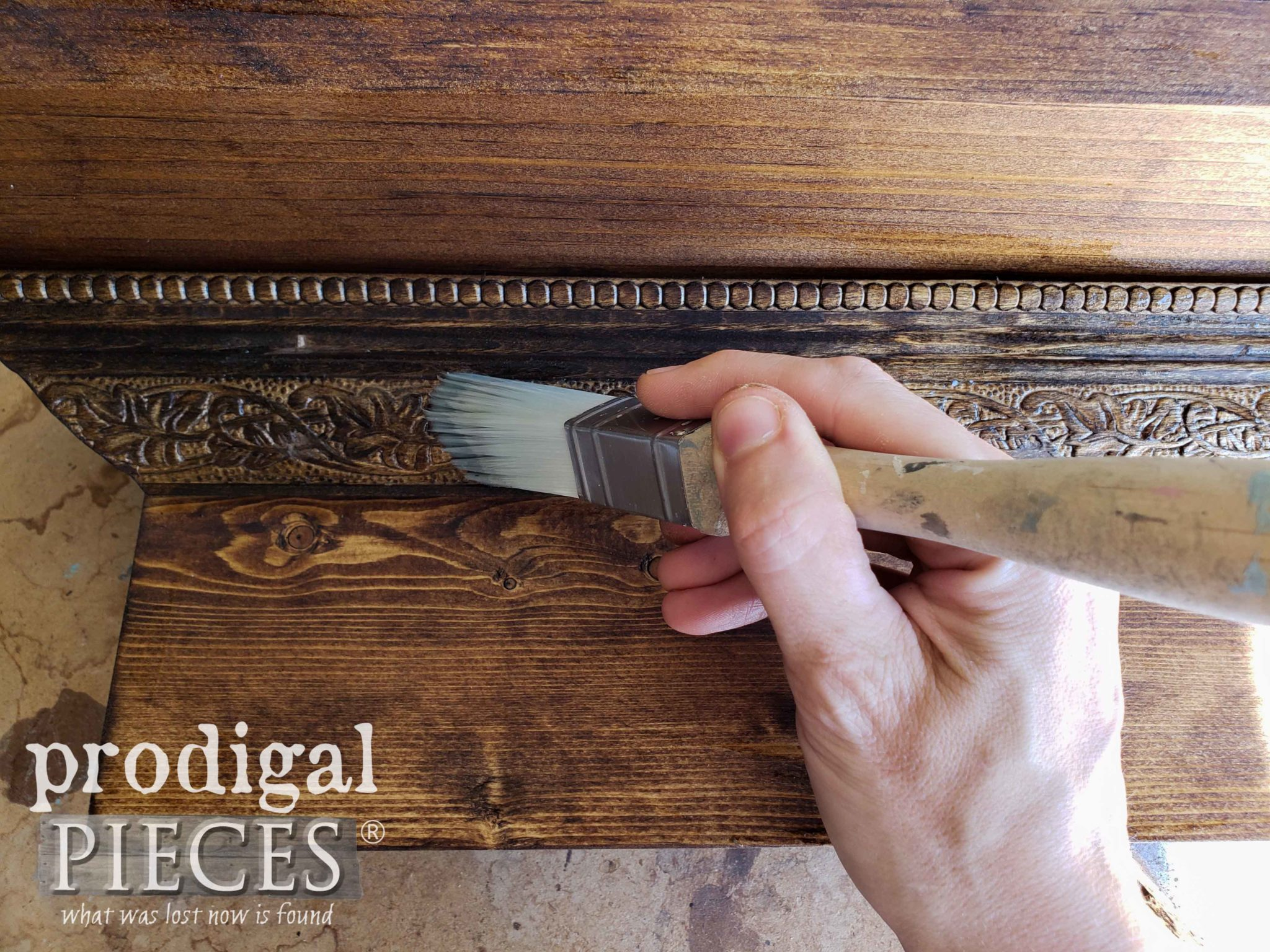 Applying Crackle Compound to DIY Mantel by Prodigal Pieces | prodigalpieces.com