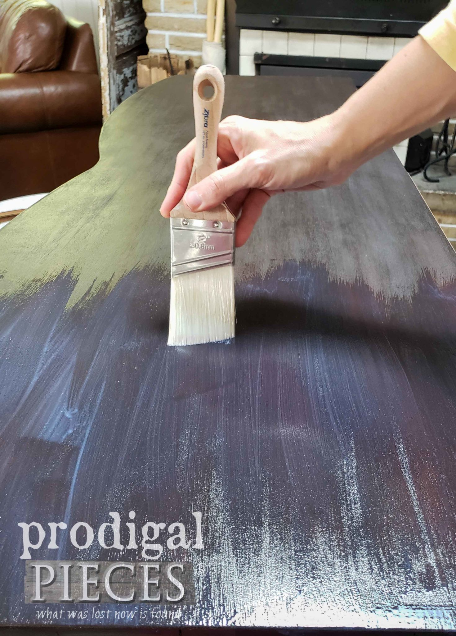 Applying Dresser Poly Topcoat with Zibra Paint Brush | prodigalpieces.com