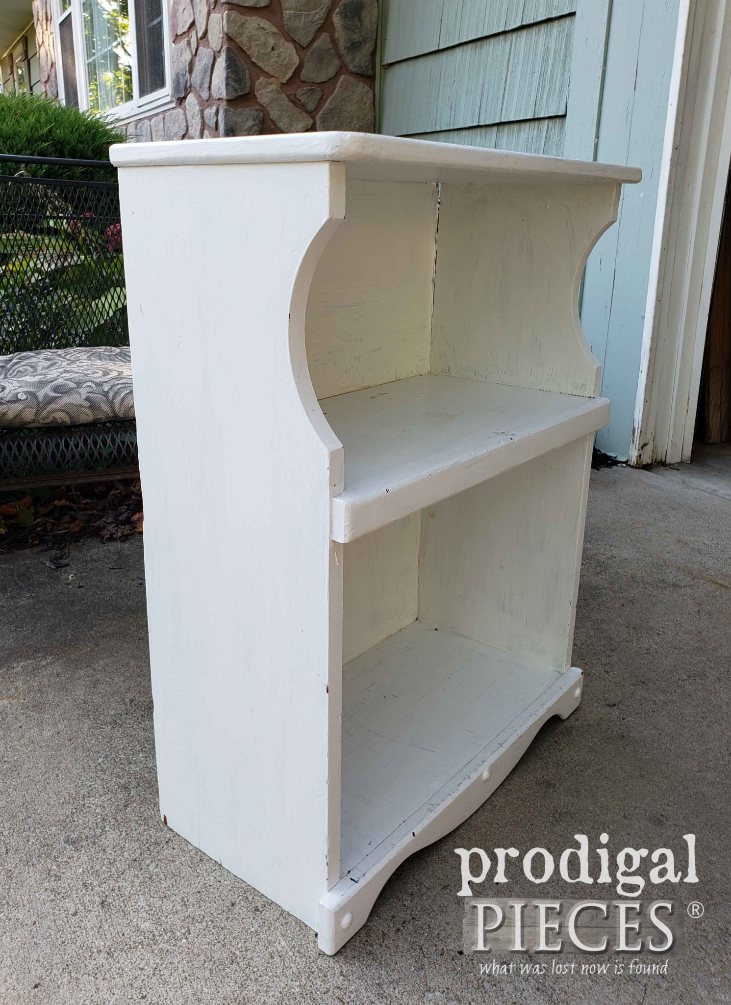 Thrift Store Bookcase Side Before Makeover | prodigalpieces.com