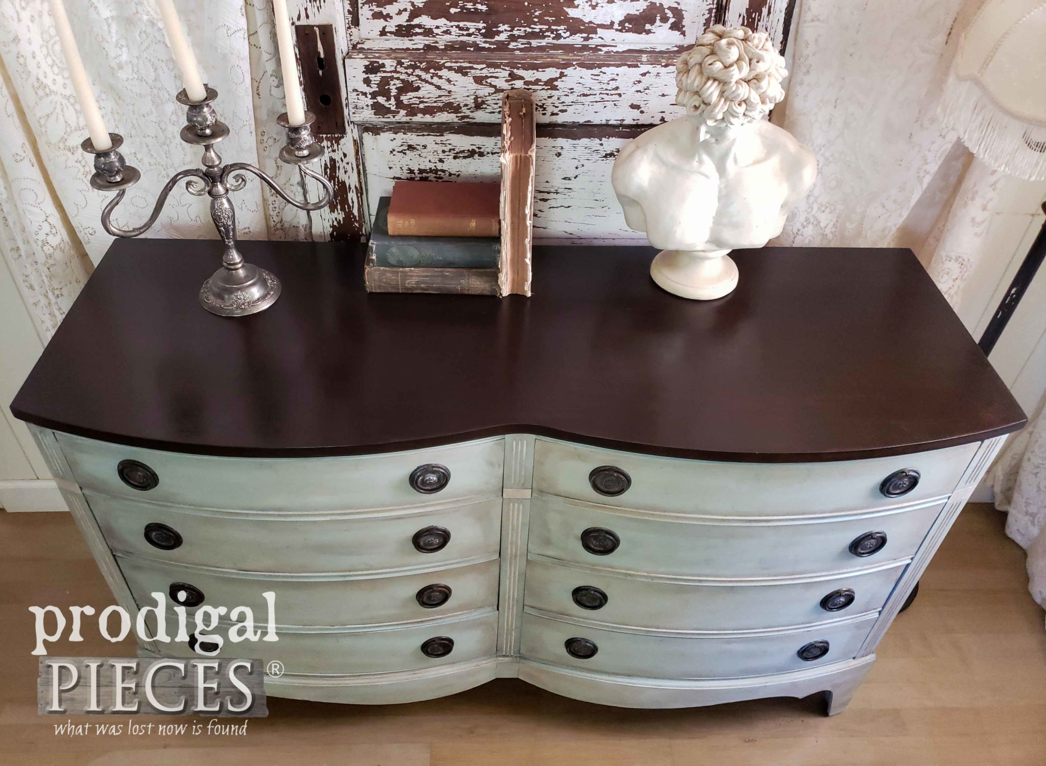 Vintage Bow Front Dresser with Java Gel Stain Top by Larissa of Prodigal Pieces | prodigalpieces.com