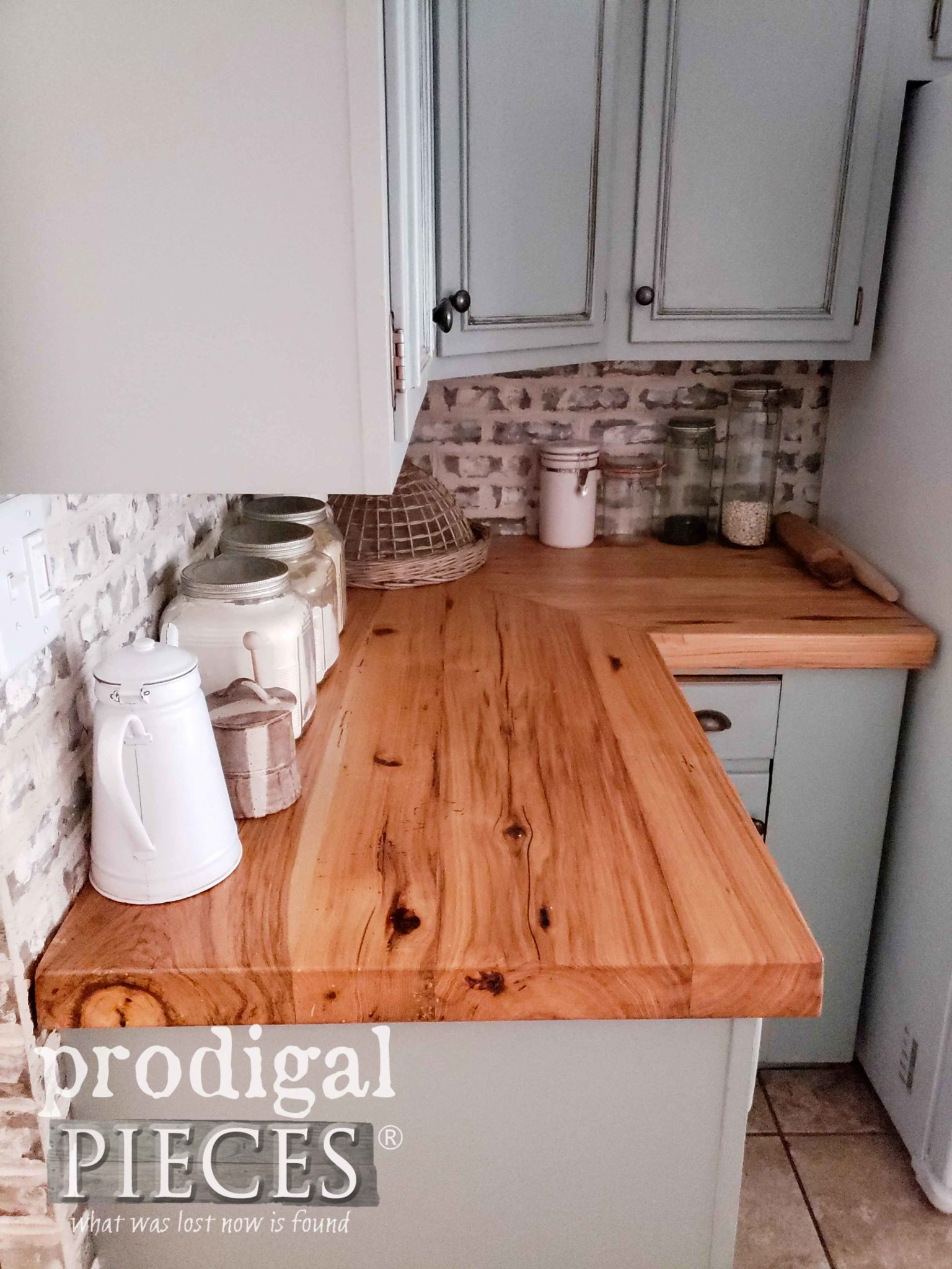 Hickory Counters in Farmhouse Kitchen Remodel Corner by Prodigal Pieces | prodigalpieces.com