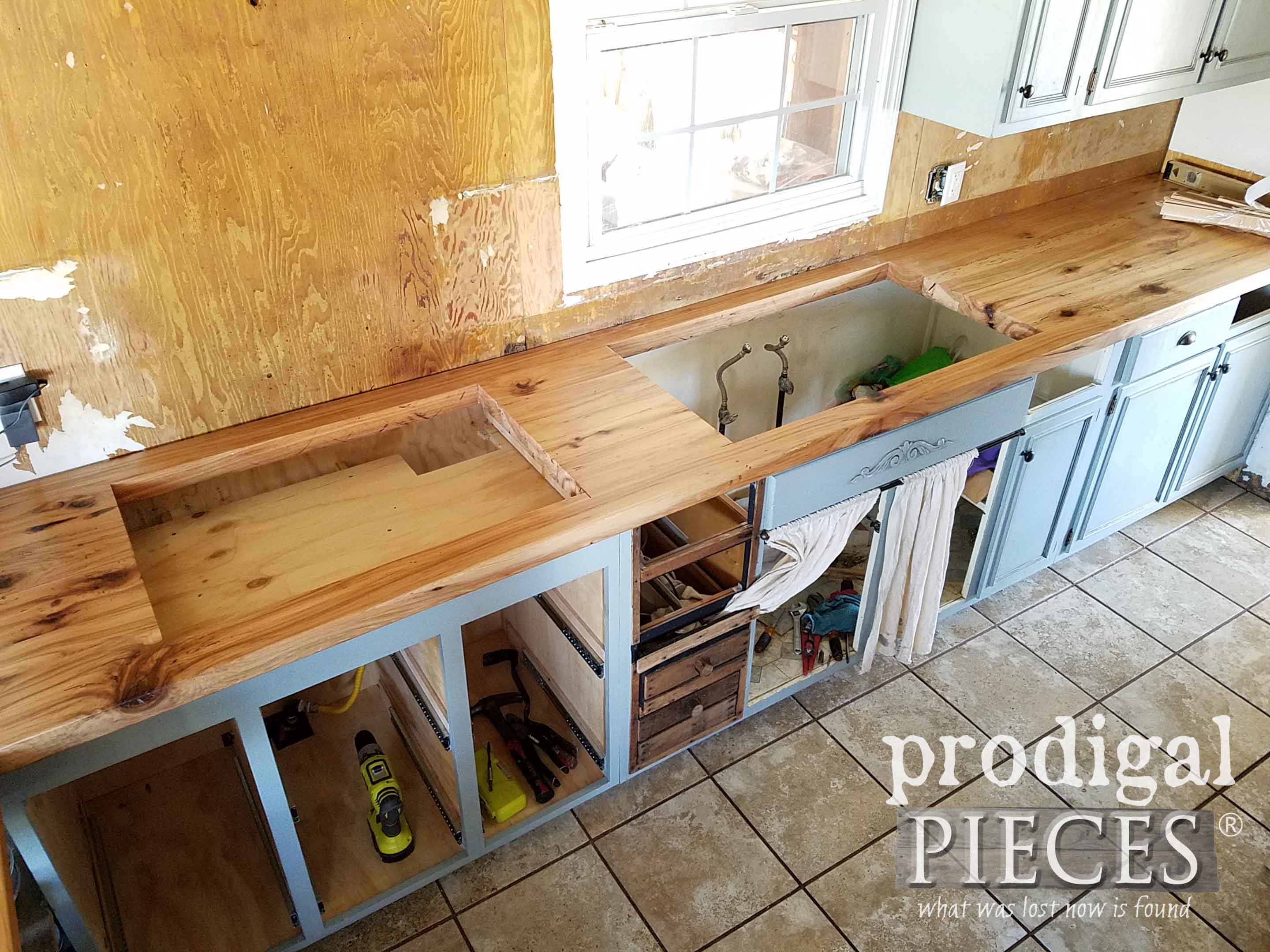 Dry Fit of Reclaimed Hickory Counter | prodigalpieces.com