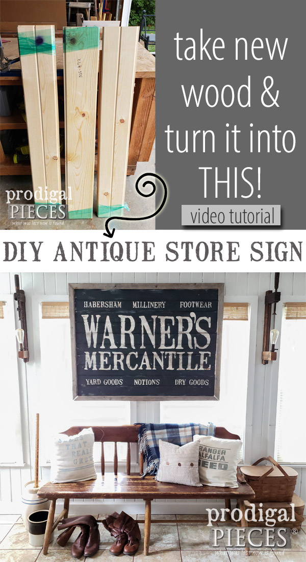 You can create this DIY antique store sign with the step-by-step video tutorial by Larissa of Prodigal Pieces | Get the details at prodigalpieces.com #prodigalpieces #handmade #home #farmhouse #homedecor #diy