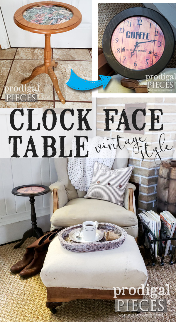 An outdated side table gets a facelift with metallic paint and whimsy for a DIY clock face table | Tutorial by Larissa of Prodigal Pieces | prodigalpieces.com #prodiglapieces #diy #home #homedecor #homedecorideas #furniture #vintage #farmhouse