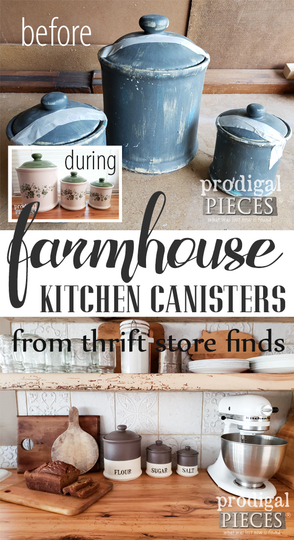 From Pinterest fail to farmhouse style, these thrifted finds were turned into farmhouse kitchen canisters. DIY tutorial by Larissa of Prodigal Pieces | prodigalpieces.com #prodigalpieces #diy #farmhouse #home #homedecor #homedecorideas