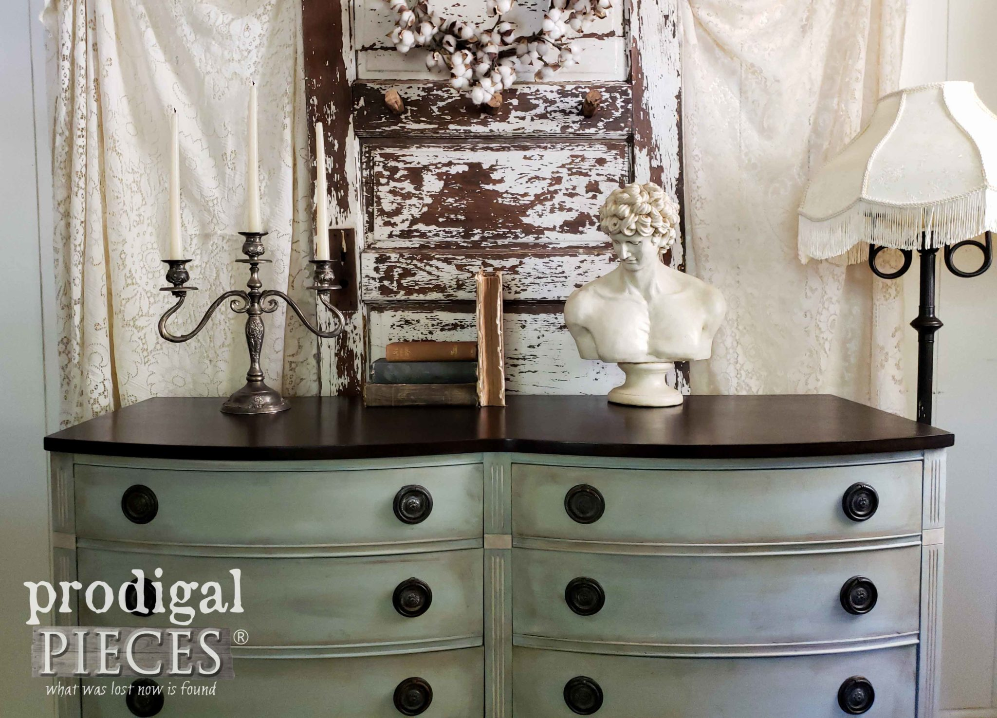 Beautiful Frottage Dresser in Vintage Style by Larissa of Prodigal Pieces | prodigalpieces.com