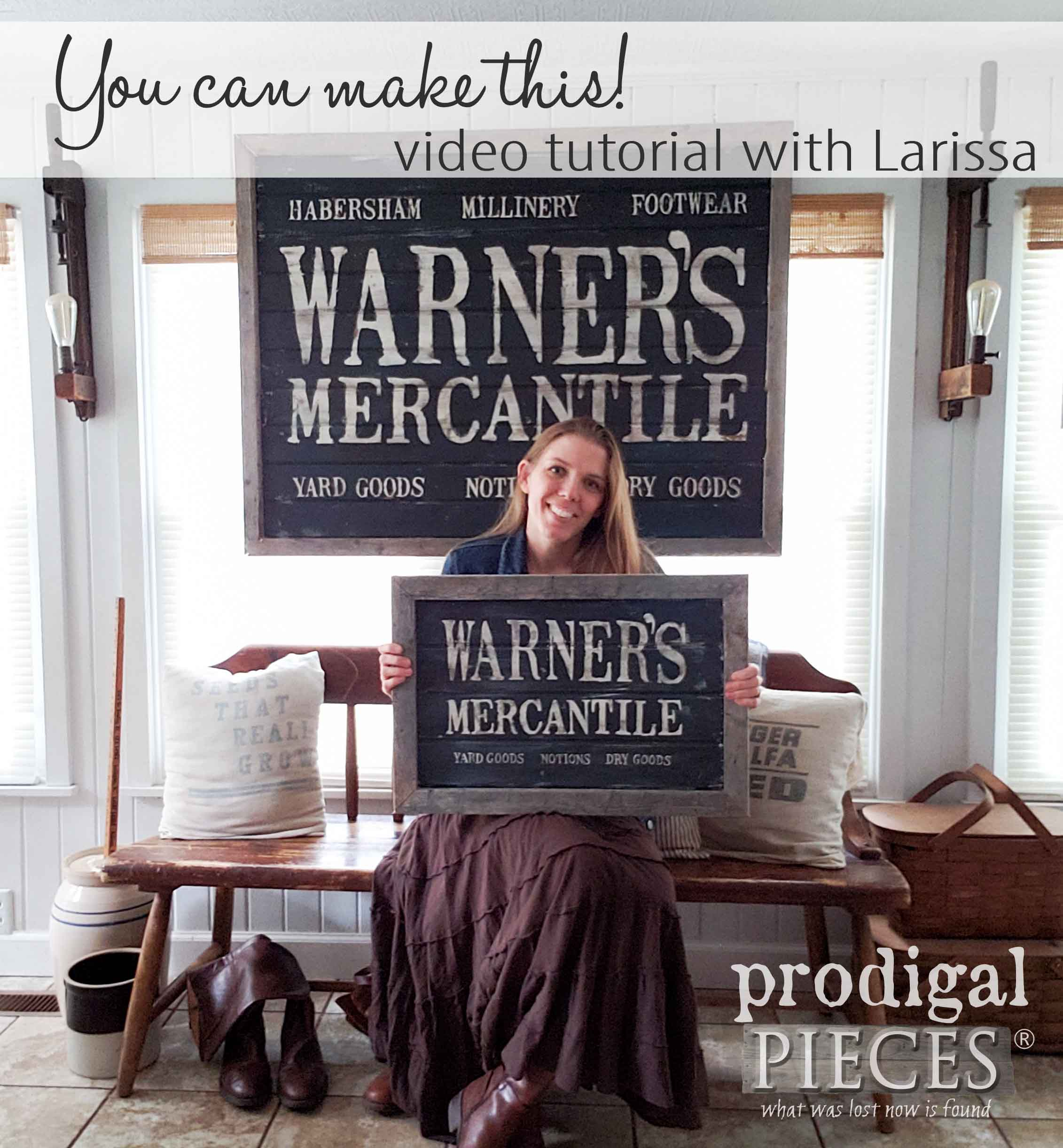 You can create this DIY Antique Store sign with the help of Larissa of Prodigal Pieces and her step-by-step video tutorial at prodigalpieces.com #prodigalpieces #diy #handmade #home #homedecor