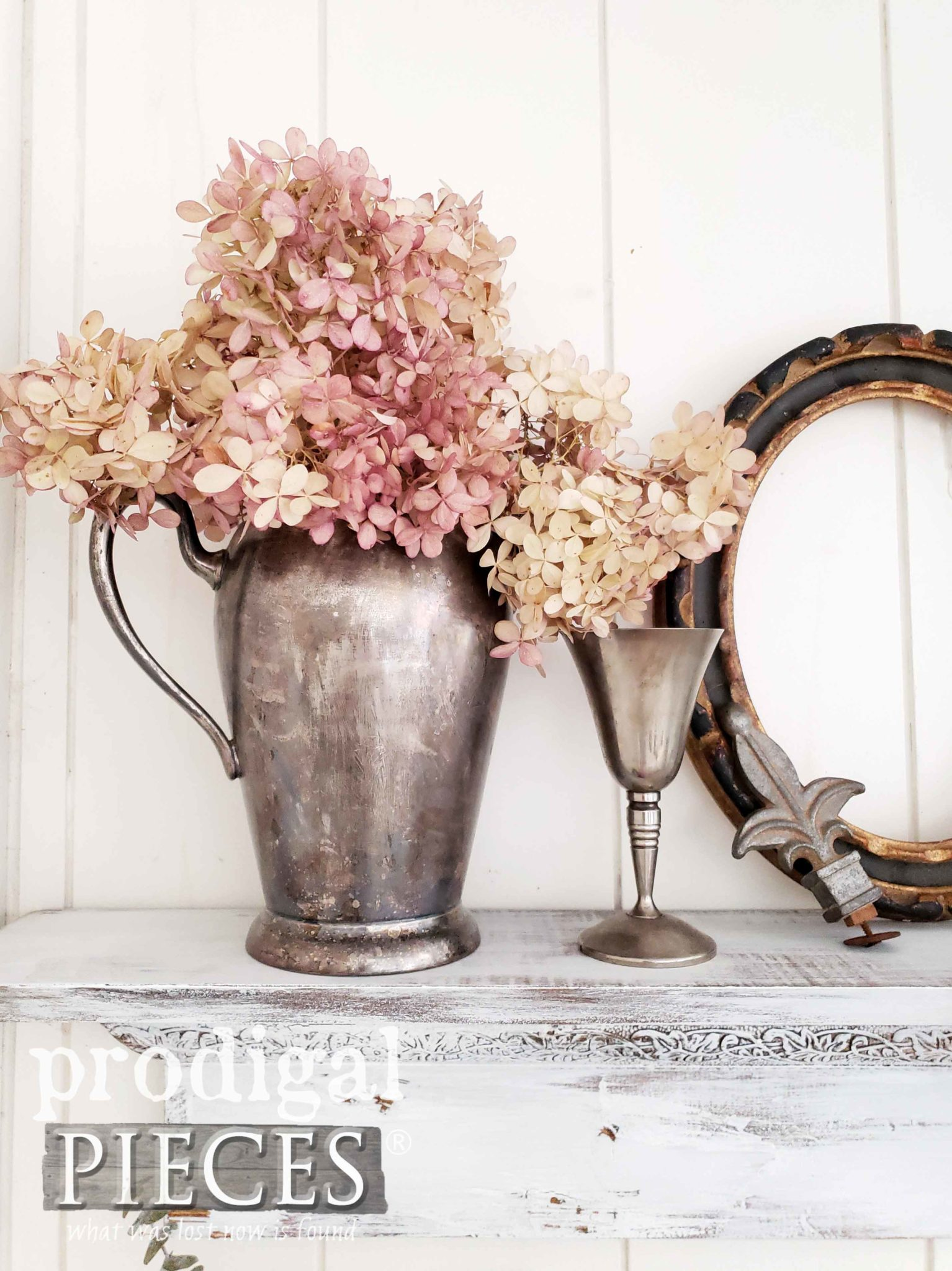 Dried Hydrangeas in Pewter Pitcher | Home Decor by Prodigal Pieces | prodigalpieces.com