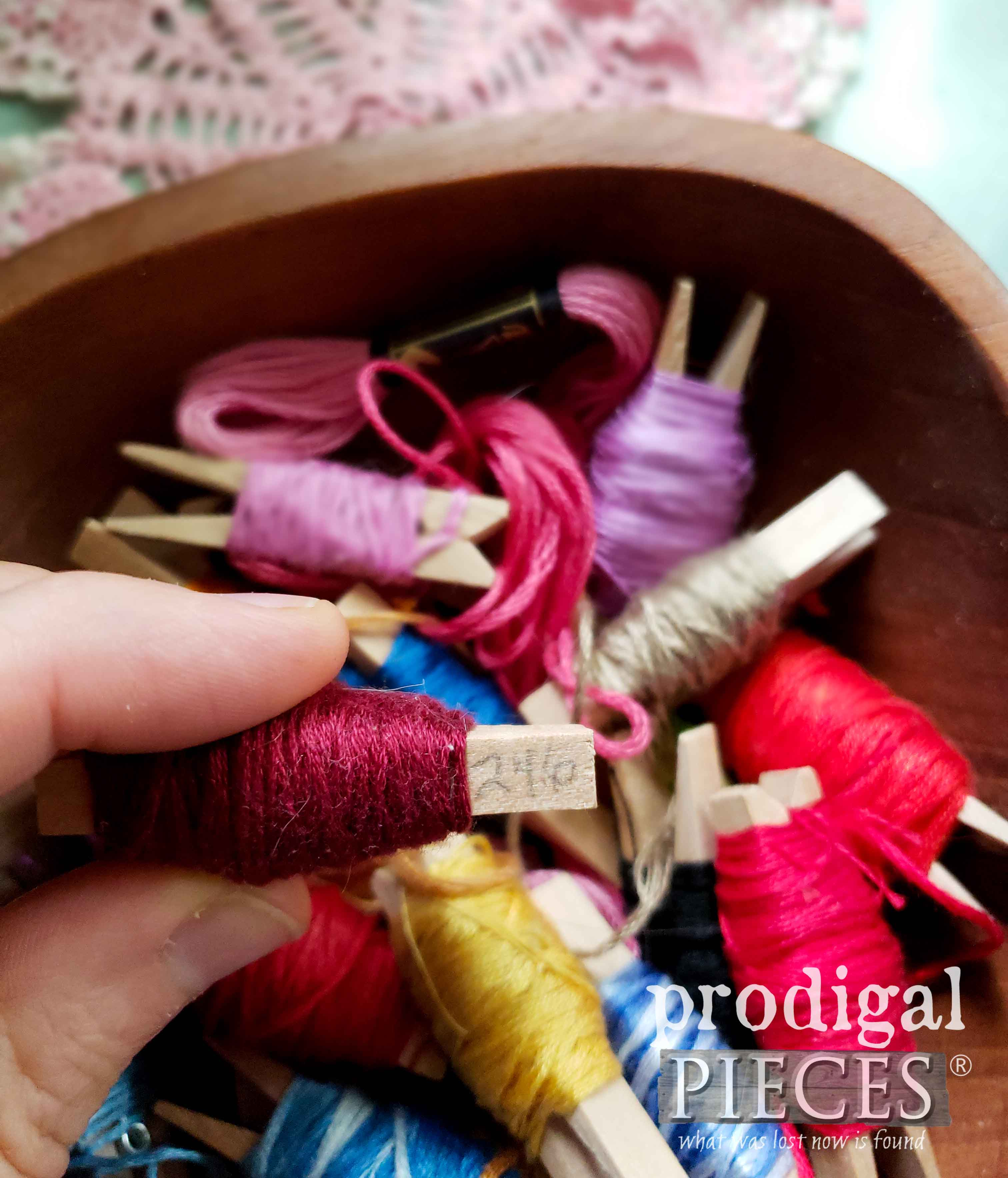 How to Store Embroidery Floss with Clothespins | prodigalpieces.com