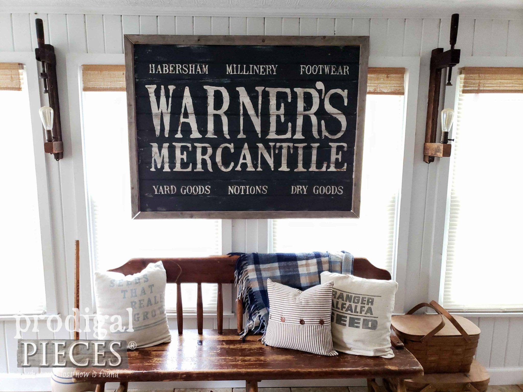 Farmhouse Antique Store Sign DIY Tutorial with Step-by-Step Video at Prodigal Pieces | prodigalpieces.com