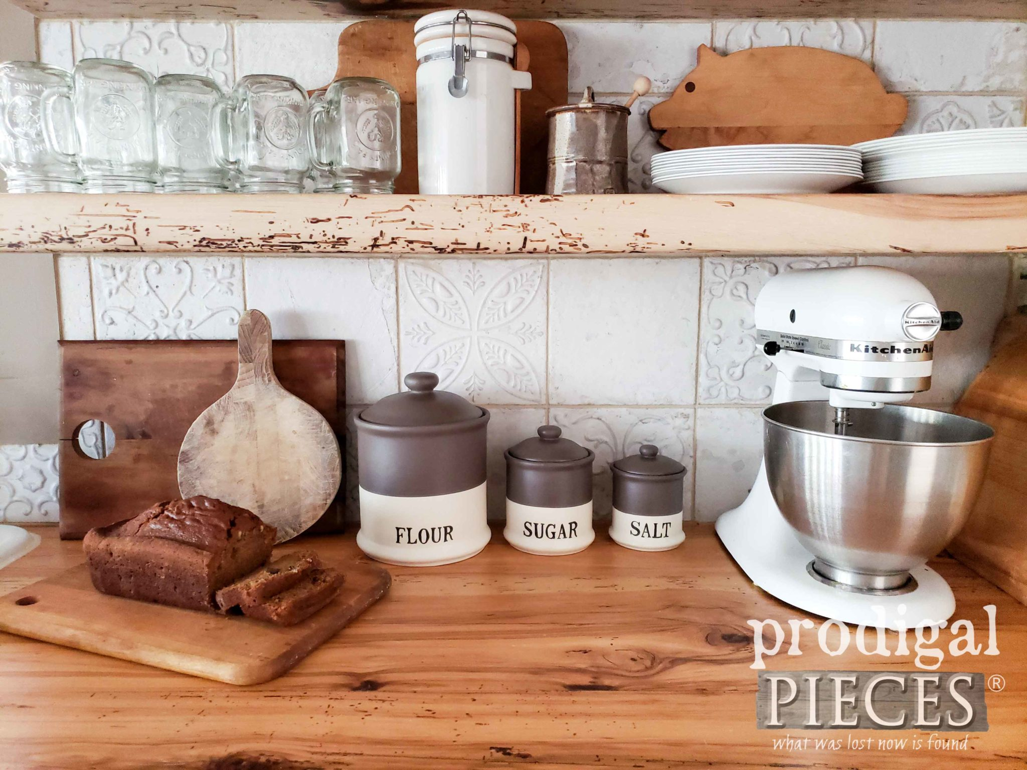 Rustic Style Farmhouse Kitchen Counter with DIY Canisters by Larissa of Prodigal Pieces | prodigalpieces.com