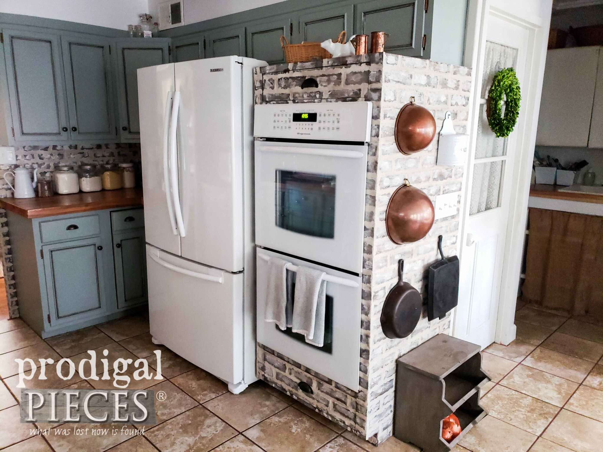 Farmhouse Kitchen with Custom Double-Oven Cabinet with Faux Brick Design by Prodigal Pieces | prodigalpieces.com