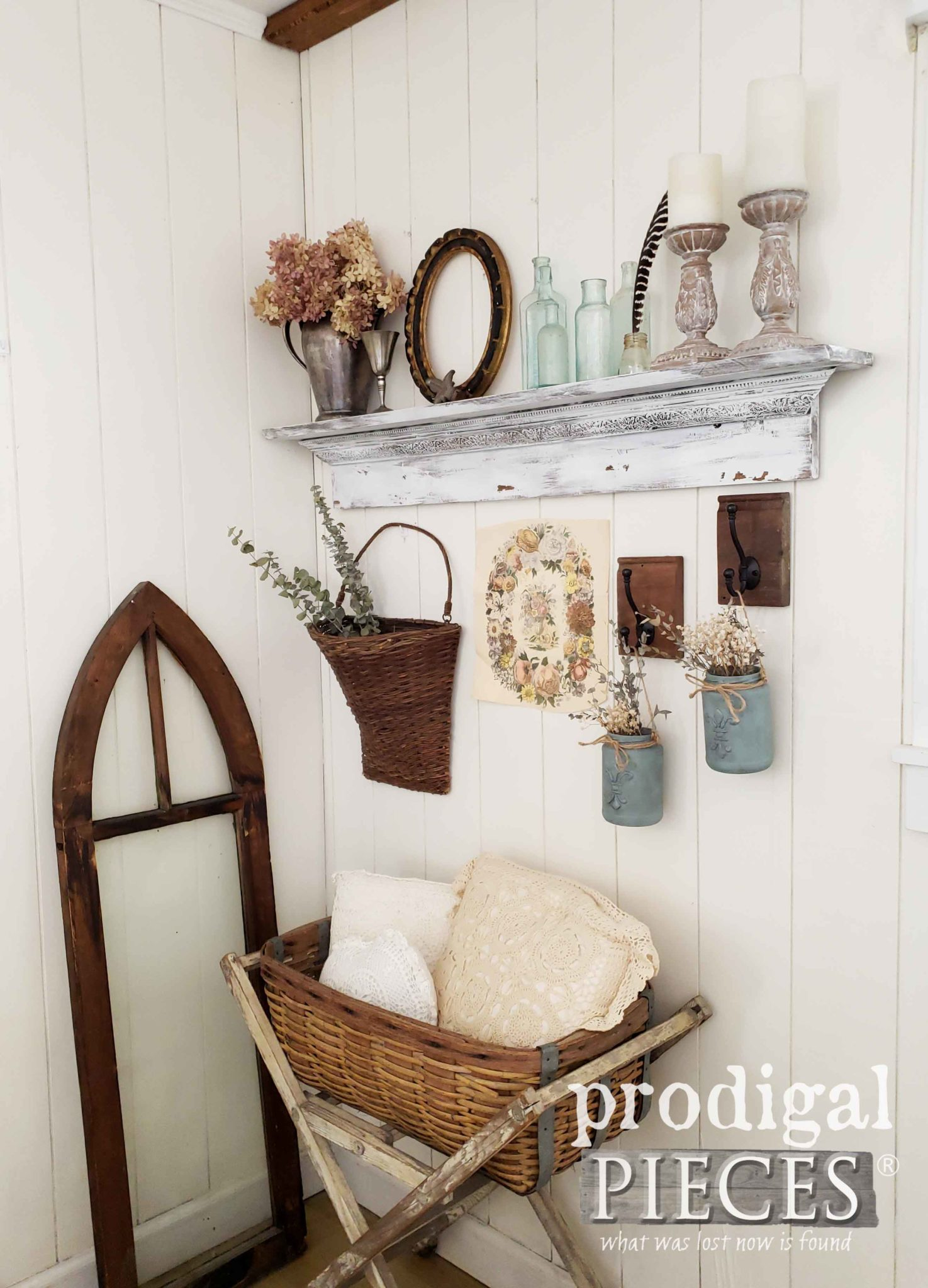 Farmhouse Style Decor with Collected Vignette Created by Larissa of Prodigal Pieces | prodigalpieces.com