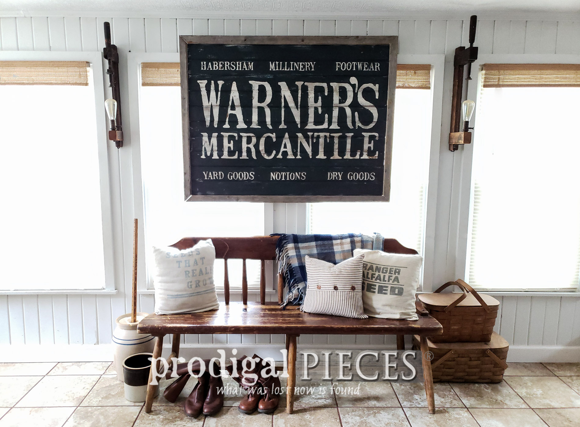 Featured DIY Antique Sign with Video Tutorial by Larissa of Prodigal Pieces | prodigalpieces.com