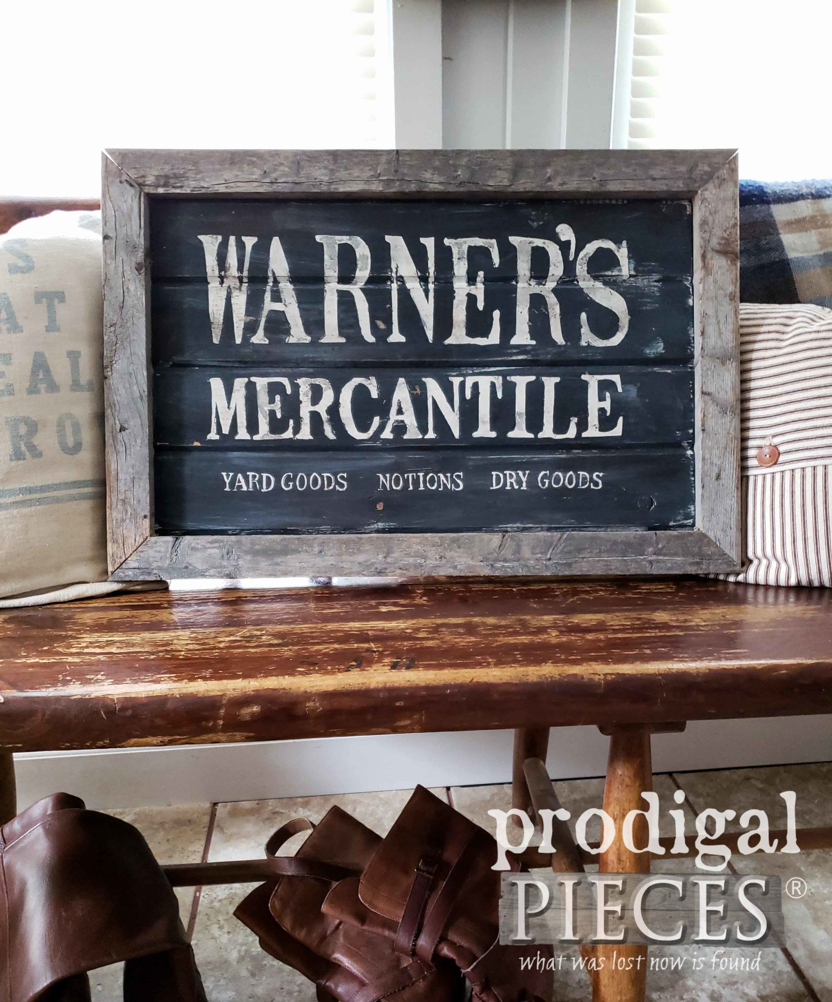 DIY Handmade Antique Store Sign with Video Tutorial by Larissa of Prodigal Pieces | prodigalpieces.com