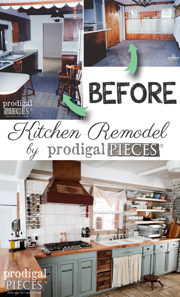 From dated to old world farmhouse, this kitchen remodel is a must see. Head to Prodigal Pieces for the DIY details on flooring, reclaimed counters, open shelving all on a budget. | prodigalpieces.com #prodigalpieces #diy #home #handmade #remodel #remodeling #kitchen