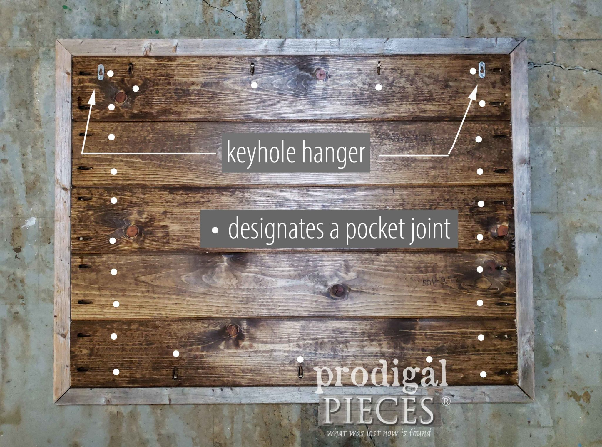 Large Antique DIY Store Sign Layout of Pocket Holes by Prodigal Pieces | prodigalpieces.com