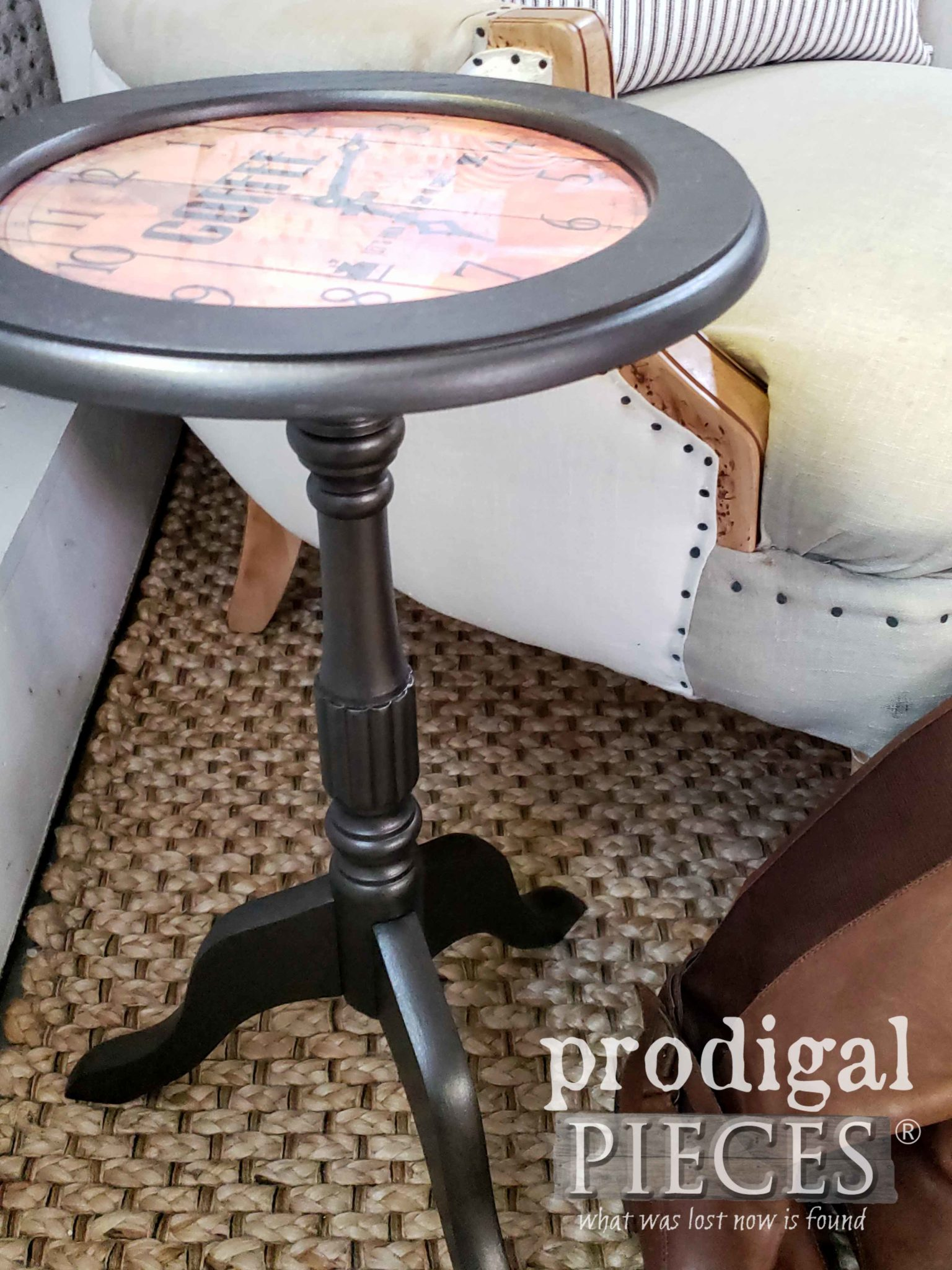 Metallic Painted Round Table by Larissa of Prodigal Pieces | prodigalpieces.com