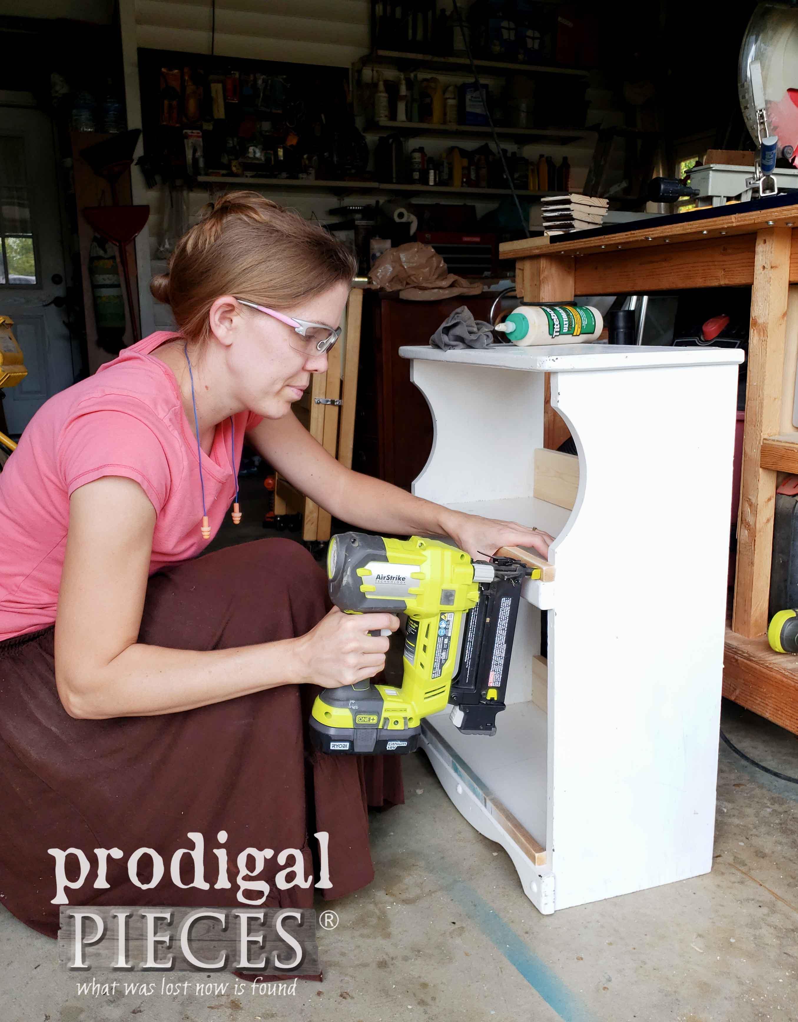 Nailing Bookcase Trim with Ryobi Nailer | prodigalpieces.com
