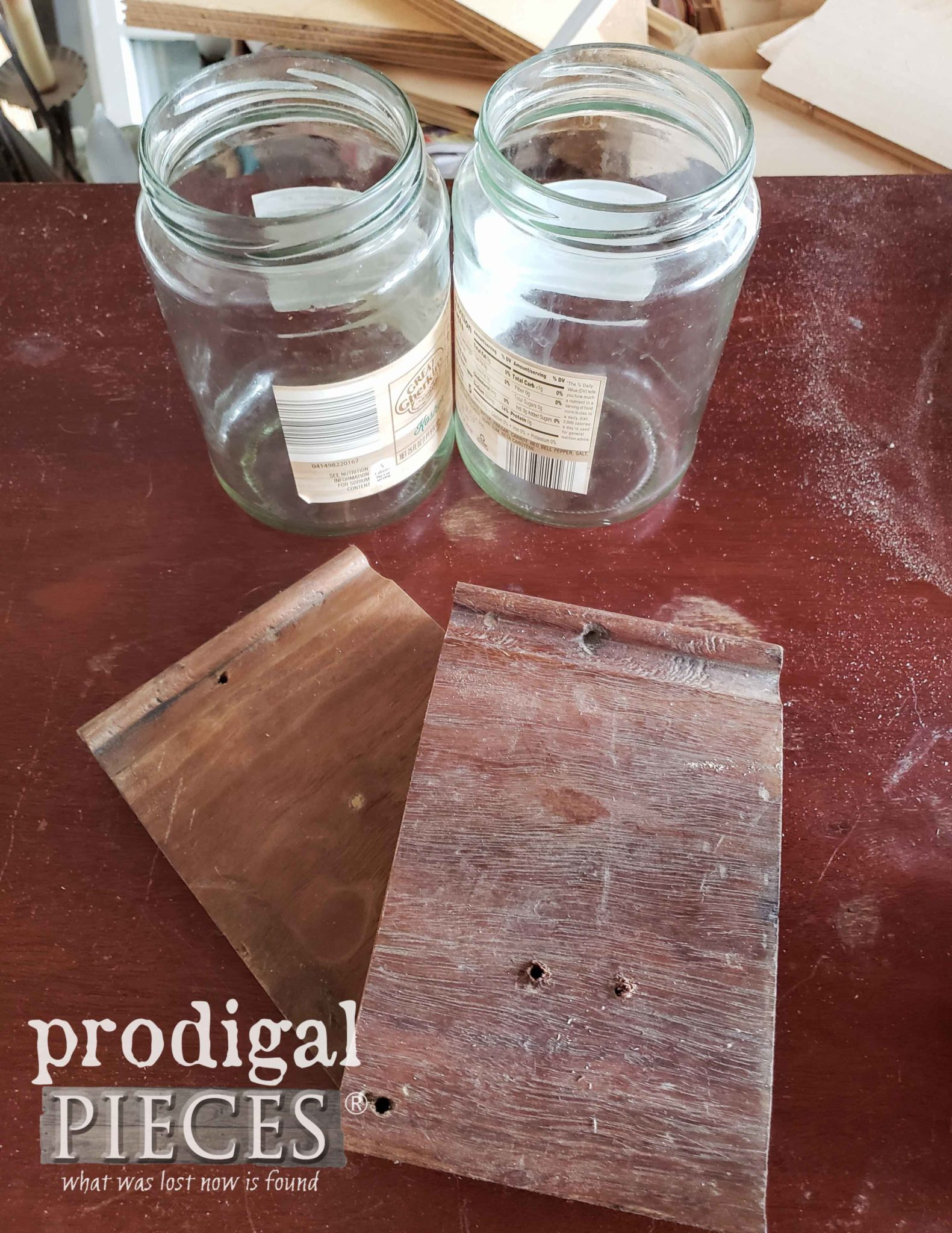 Old Jars and Scrap Wood Before | prodigalpieces.com
