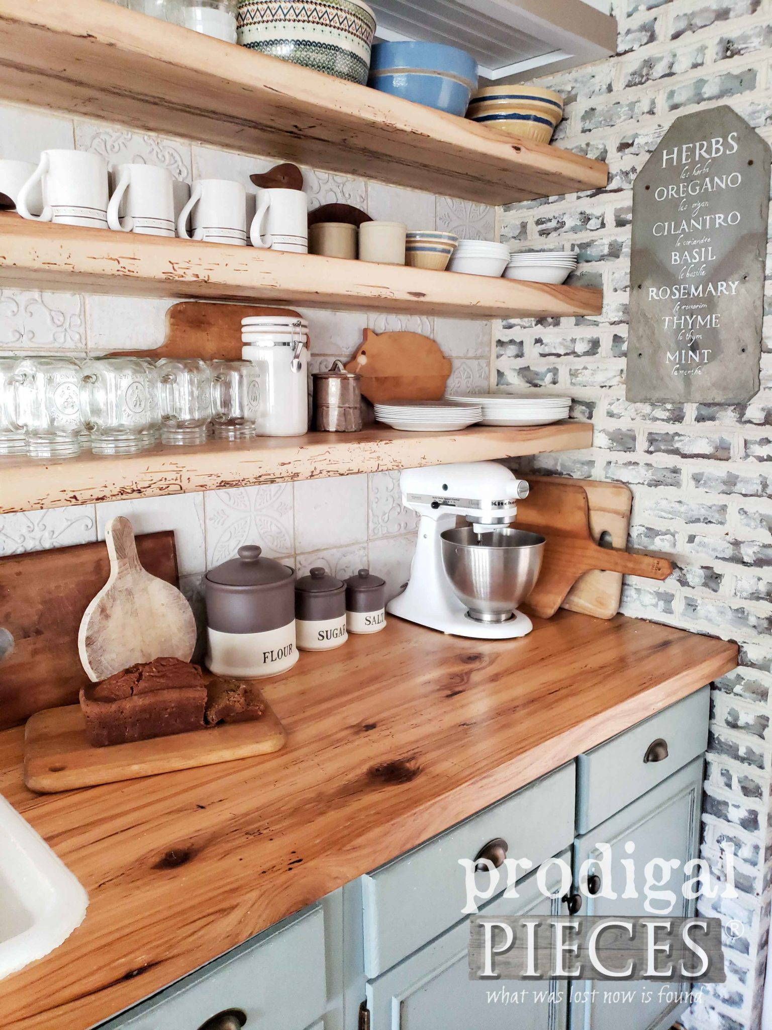 Old World Farmhouse Style Kitchen with Reclaimed Wood Countertops by Larissa of Prodigal Pieces | prodigalpieces.com
