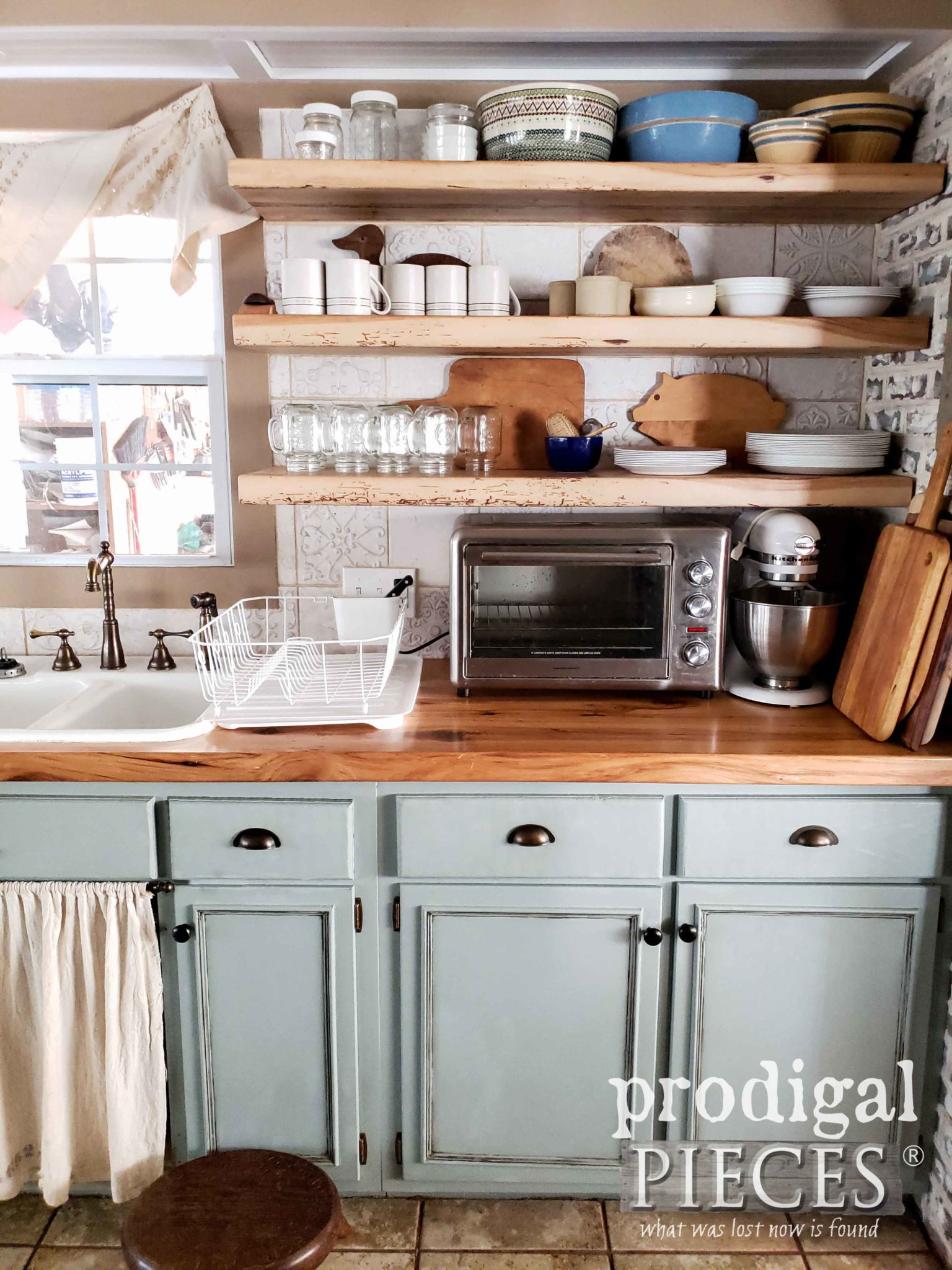 Open Shelving in Farmhouse Old World Style Kitchen Made of Reclaimed Hickory by Prodigal Pieces | prodigalpieces.com