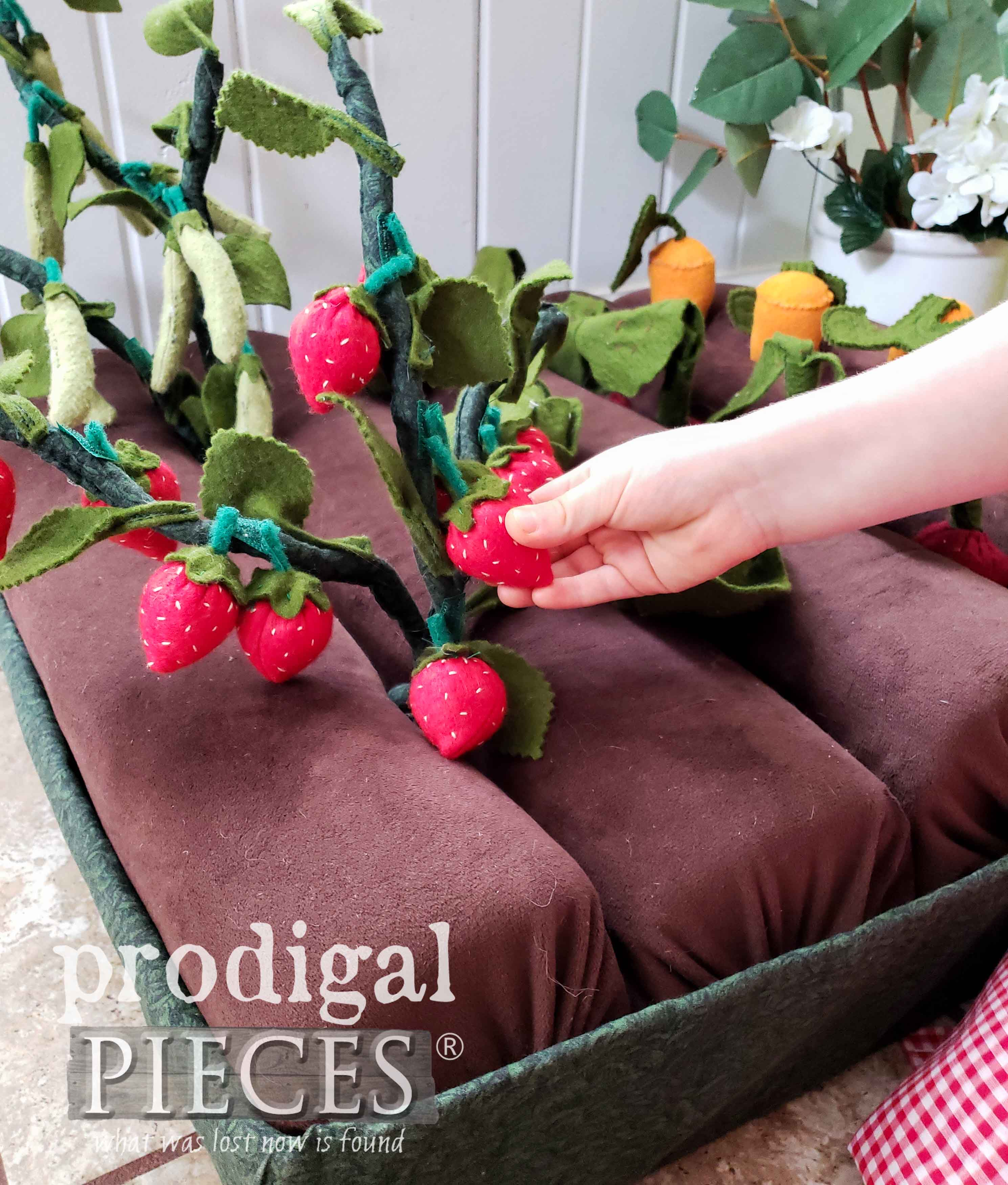 Pretend Play Garden with Strawberries by Larissa of Prodigal Pieces | prodigalpieces.com