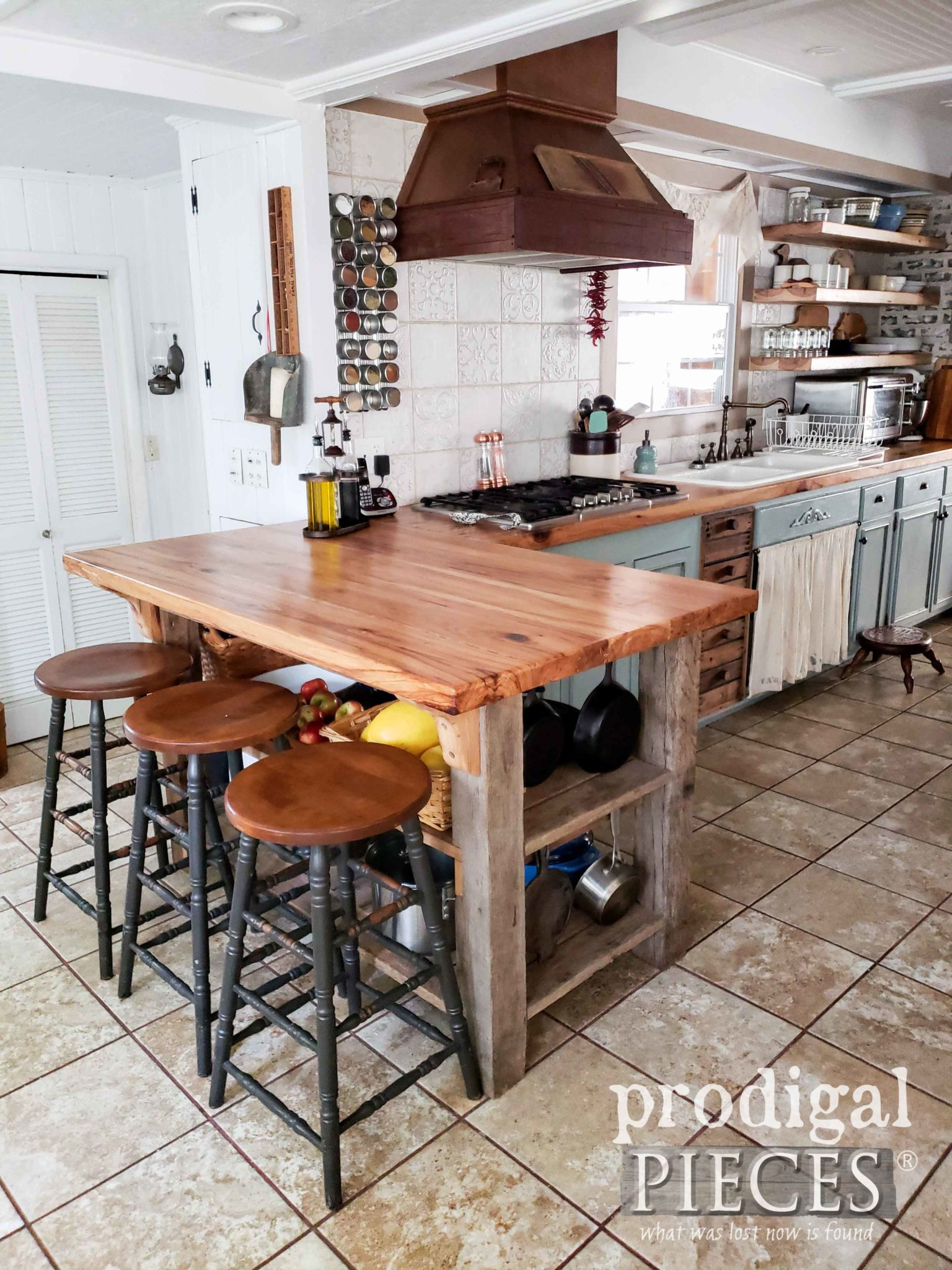 Reclaimed Kitchen Counter Made of 1800's Reclaimed Hickory by Prodigal Pieces | prodigalpieces.com