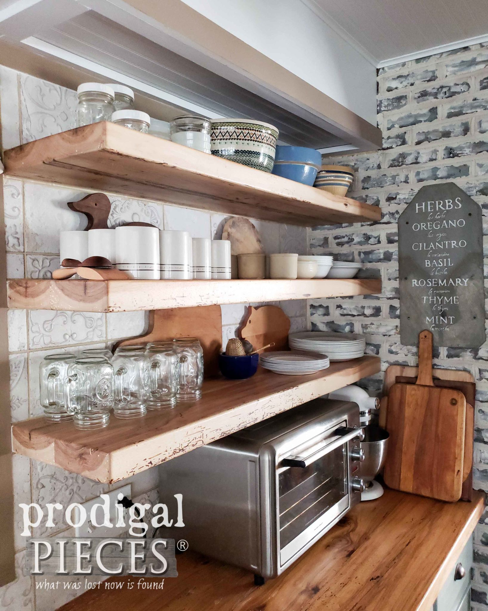 DIY Open Shelving in Kitchen Made from 1800's Reclaimed Hickory by Prodigal Pieces | prodigalpieces.com