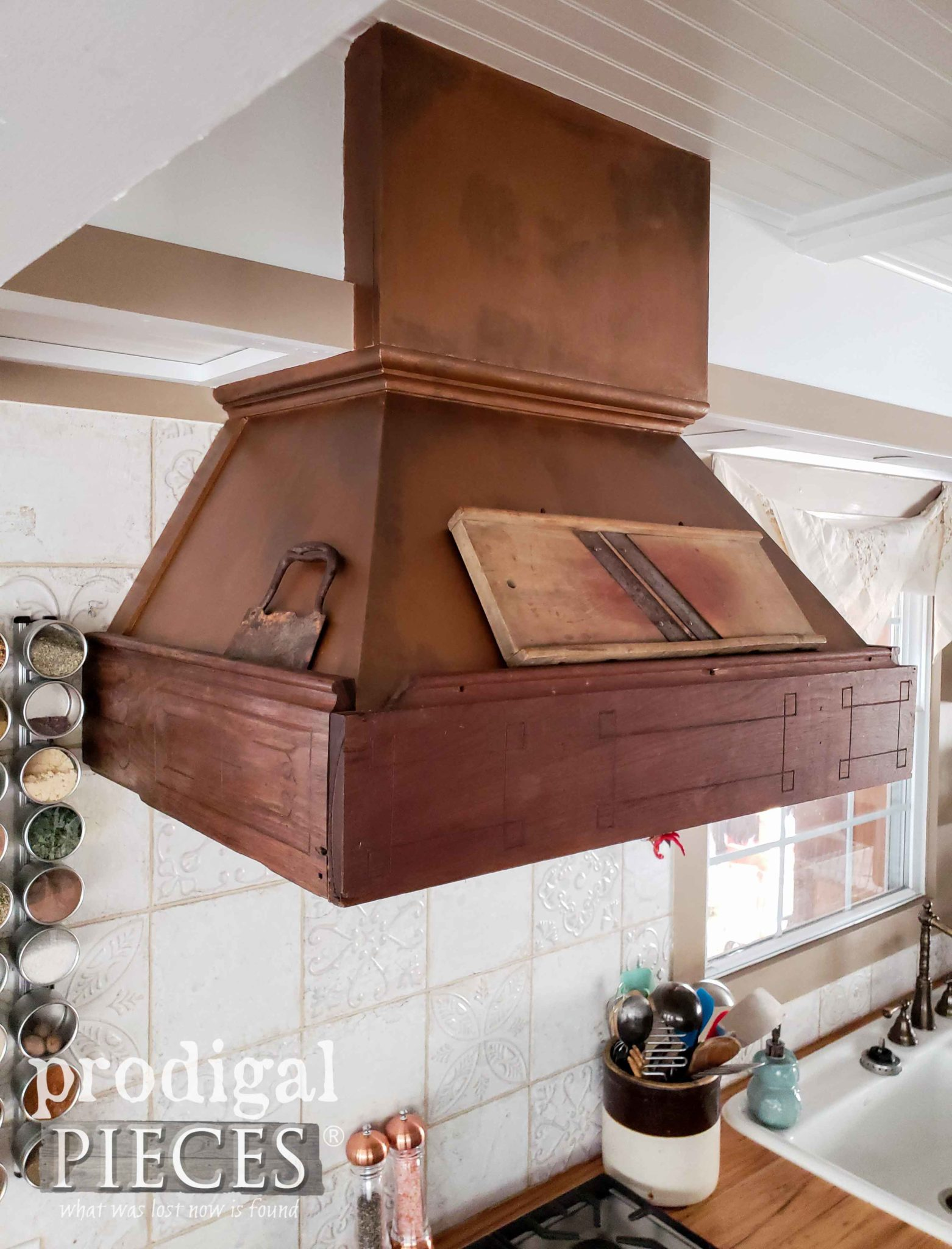 Reclaimed Range Hood made from 1800's Hand-Carved Trim and Copper Top by Prodigal Pieces | prodigalpieces.com
