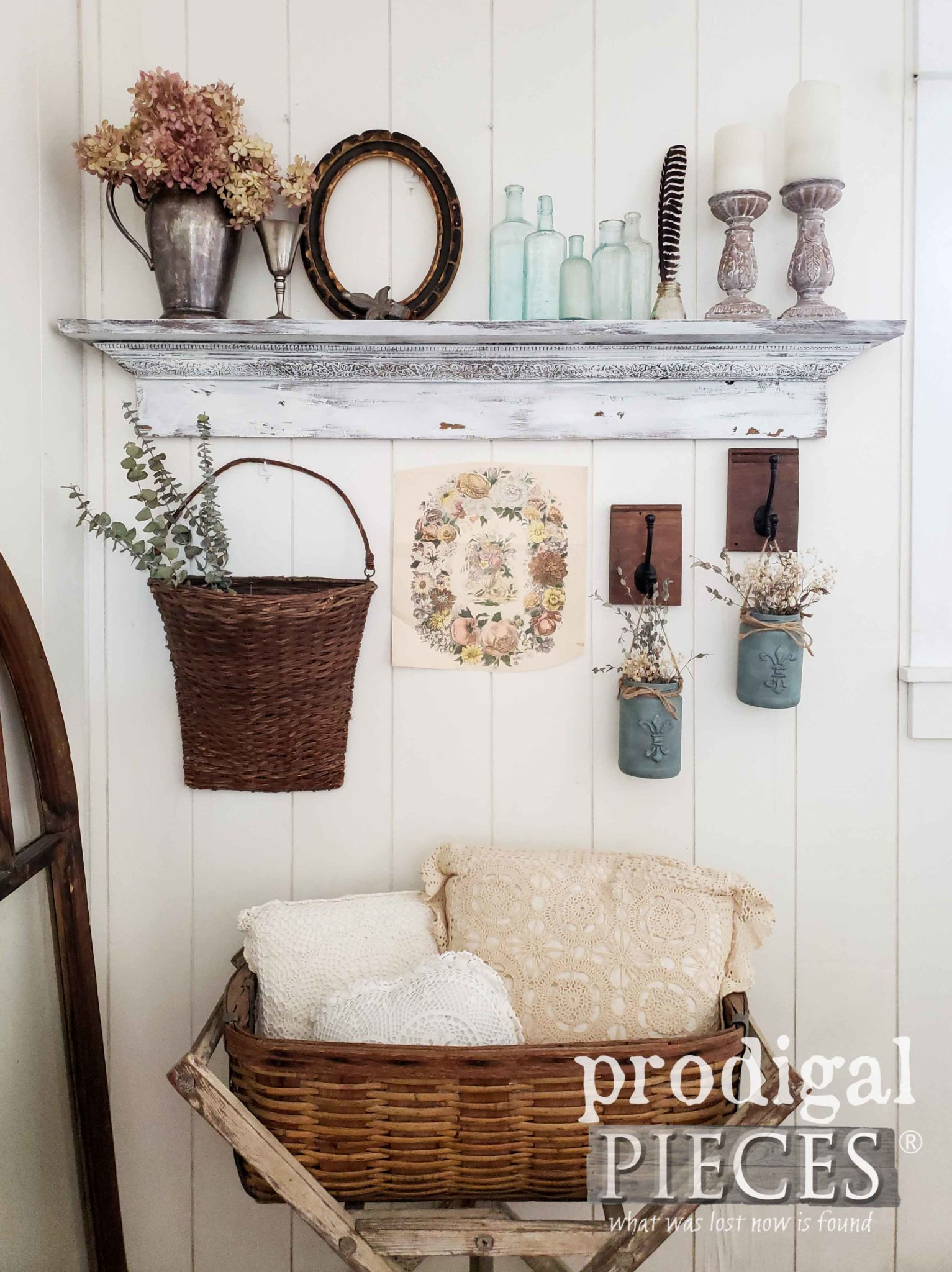 DIY decor in this romantic chic vignette by Larissa of Prodigal Pieces | prodigalpieces.com