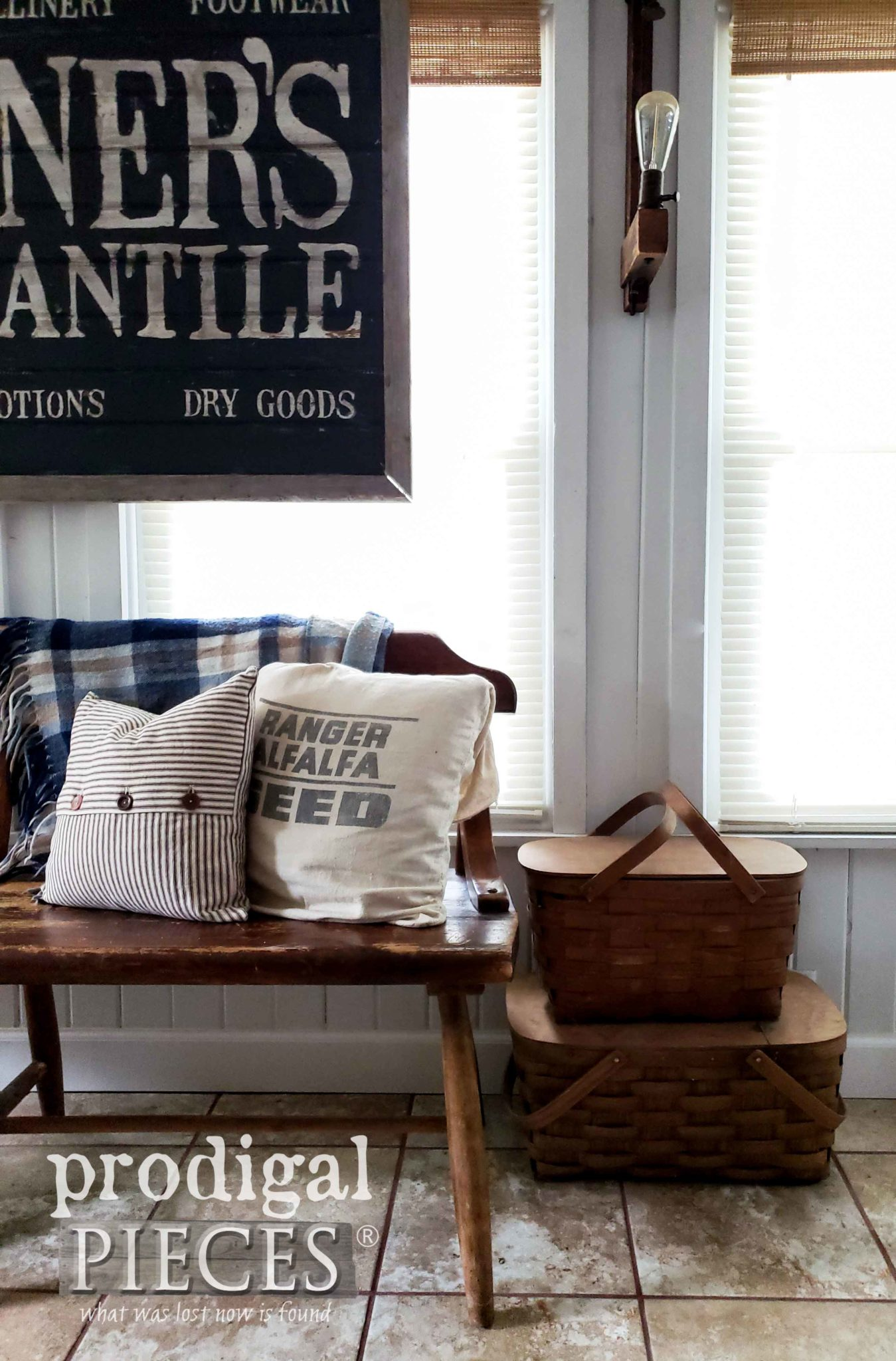Rustic Farmhouse Bench with DIY Antique Store Sign by Larissa of Prodigal Pieces   prodigalpieces.com