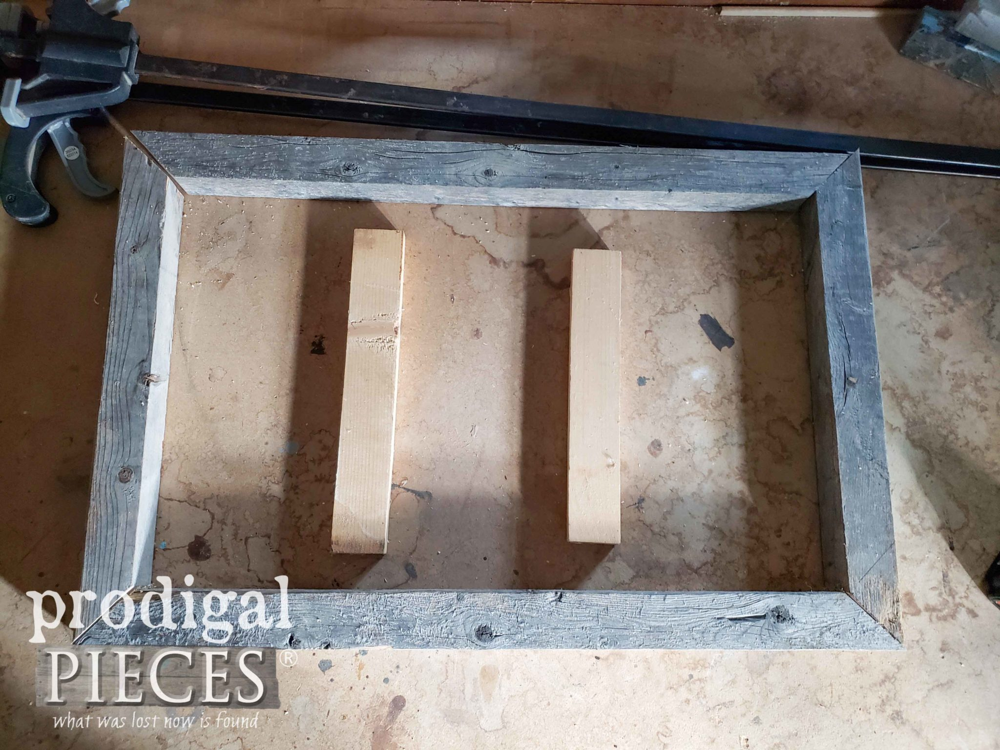 Scrap Wood Spacers for Assembling Sign | prodigalpieces.com