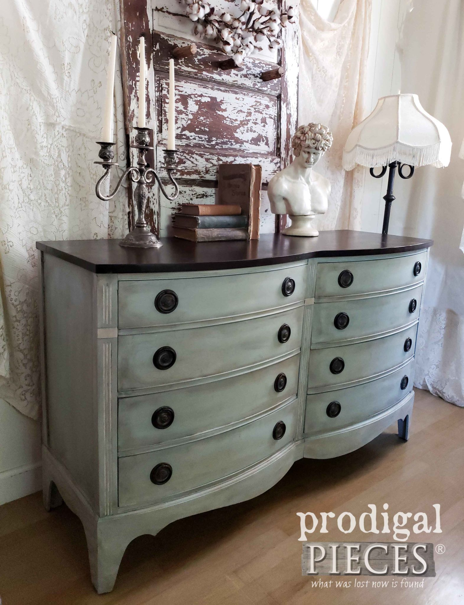 Elegant Vintage Bow Front Dresser done in Frottage Technique by Larissa of Prodigal Pieces | prodigalpieces.com