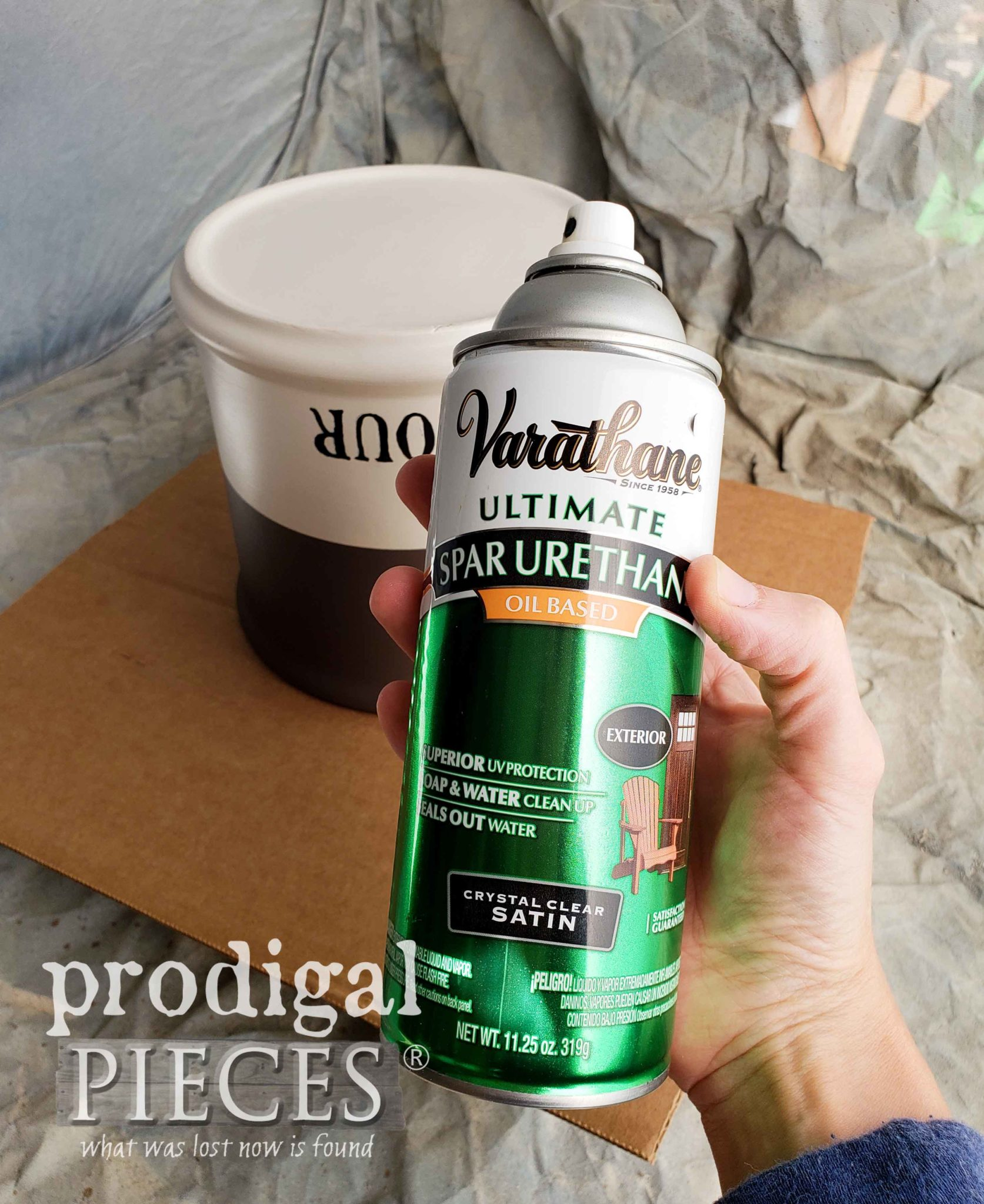 Using Spray Spar Urethane to topcoat Kitchen Canisters by Prodigal Pieces | prodigalpieces.com