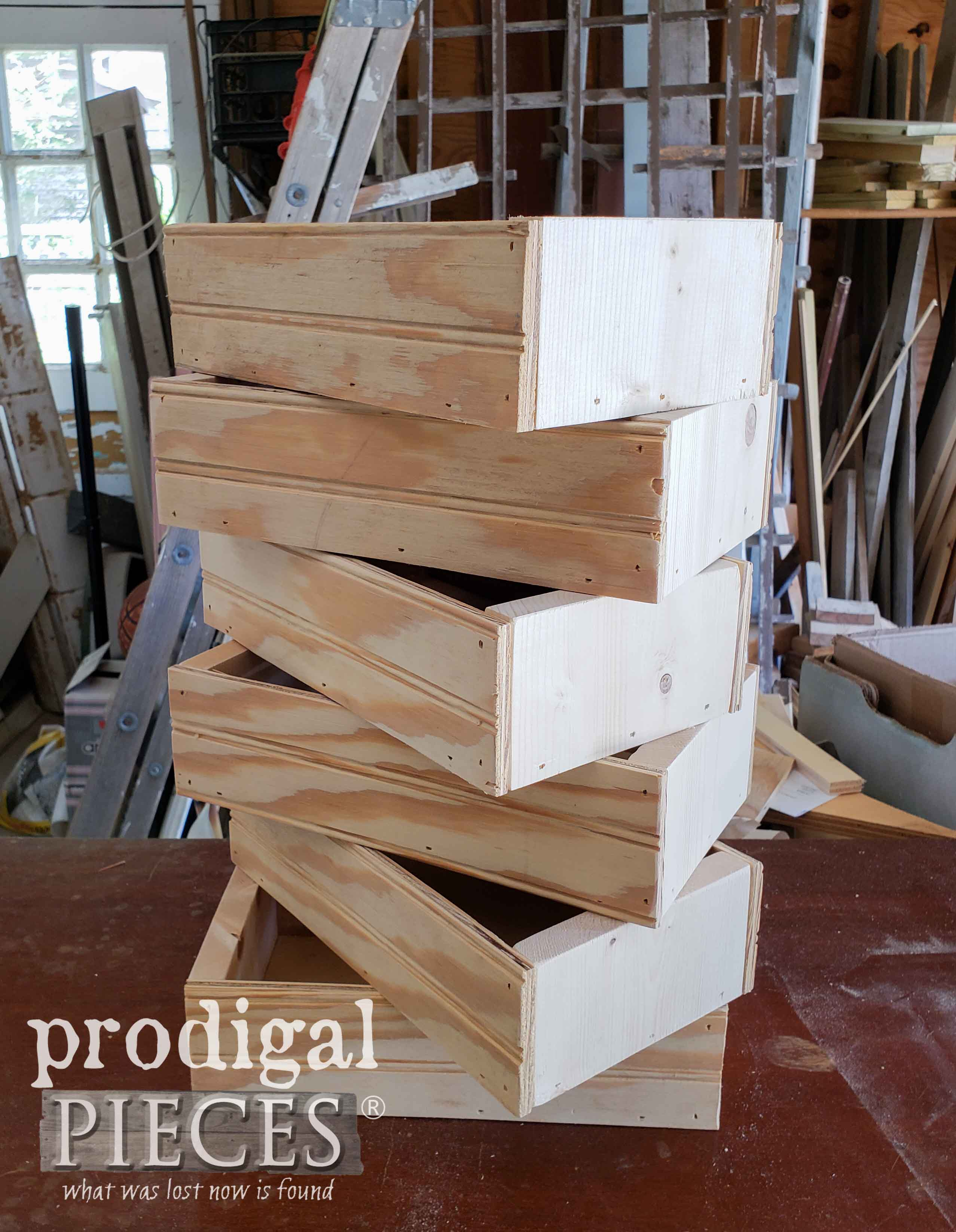 Stack of mini crates for pretend play farmers market | prodigalpieces.com