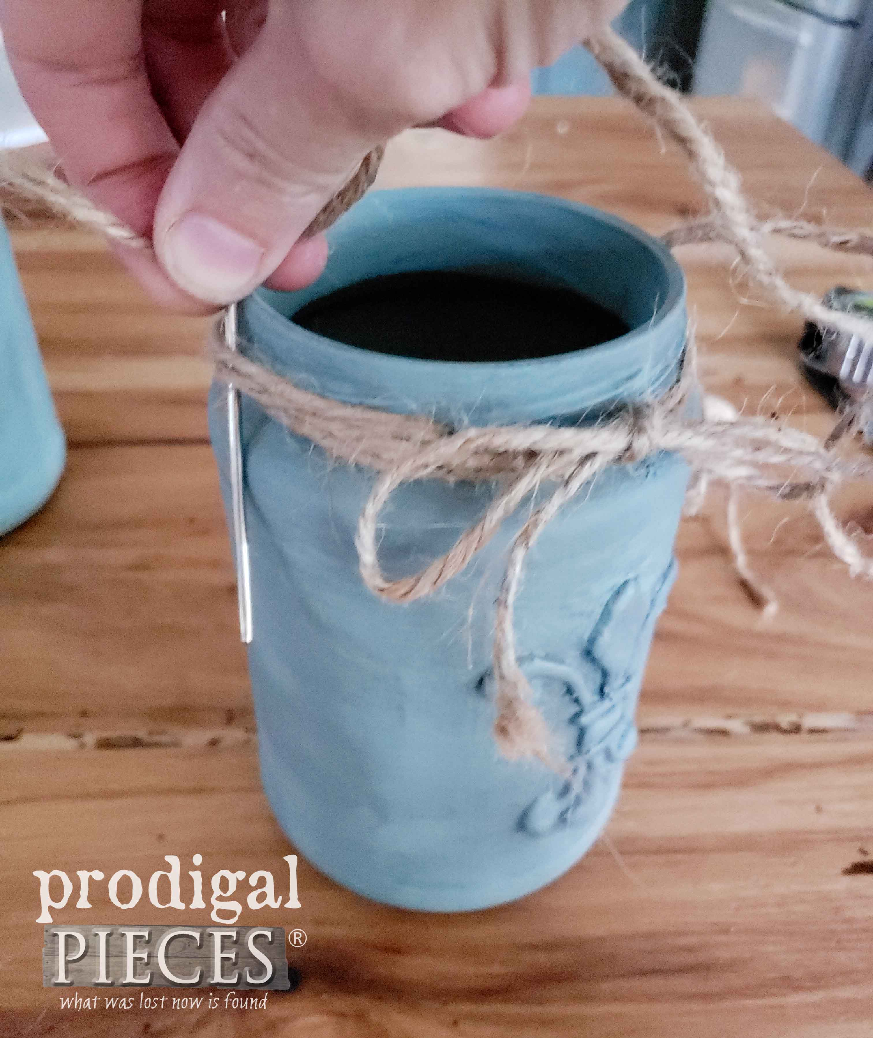 Adding Jute Twin to DIY Jar Hangers | prodigalpieces.com