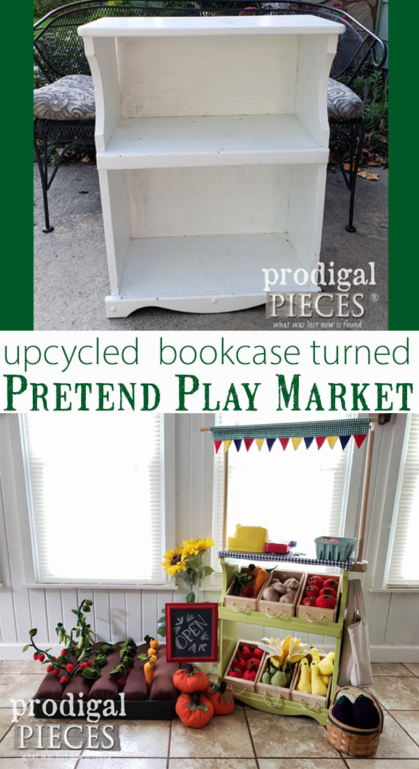 Say whaat?! This upcycled bookcase was turned into an adorable pretend play farmer's market stand. Larissa of Prodigal Pieces shared the DIY details on her blog prodigalpieces.com | #prodigalpieces #kids #toys #handmade #home #homedecor #furniture #diy