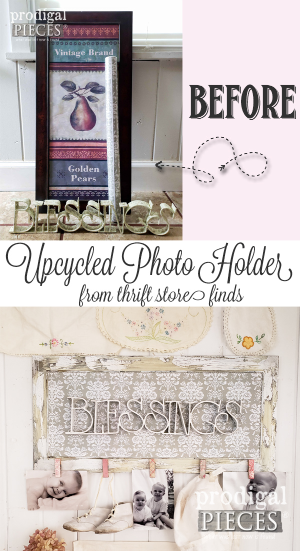 Upcycled Photo Holder DIY Tutorial by Larissa of Prodigal Pieces Using Found Thrift Store Objects | Details at prodigalpieces.com #prodigalpieces #handmade #diy #home #homedecor #vintage #homedecorideas #crafts