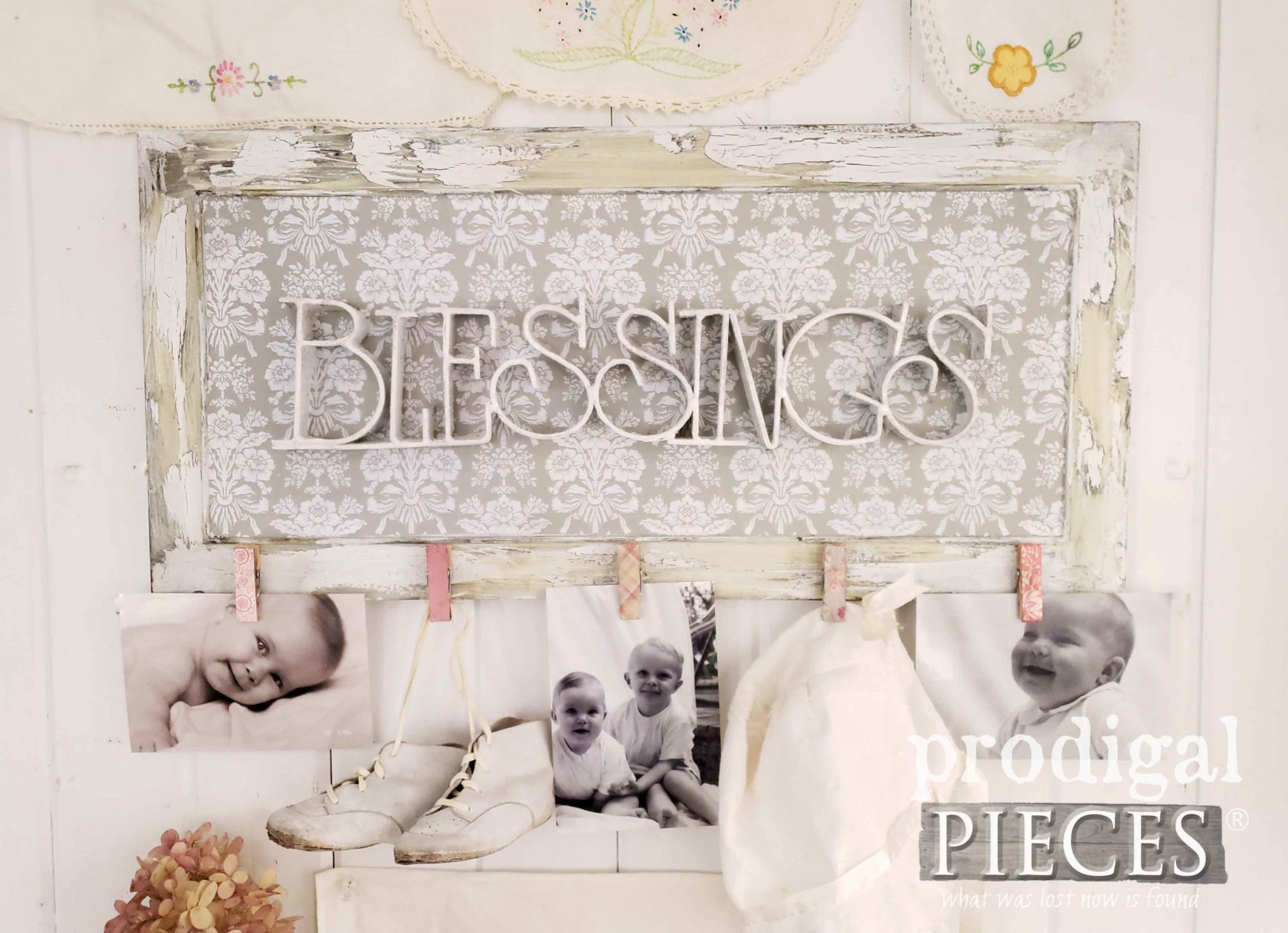 Beautiful Upcycled Photo Holder Wall Art for your Home Decor by Larissa of Prodigal Pieces | prodigalpieces.com