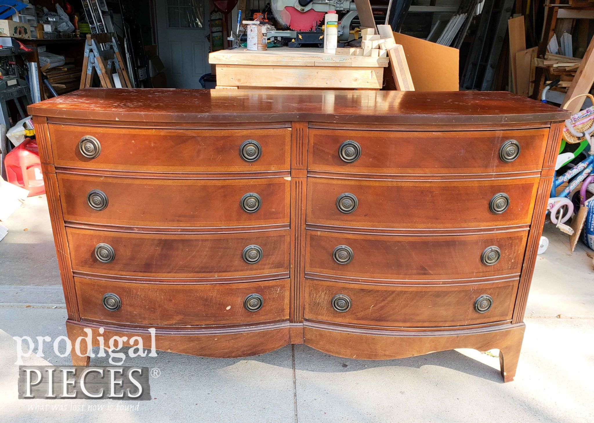 Vintage Dixie Dresser with Bow Front Before Makeover by Prodigal Pieces | prodigalpieces.com