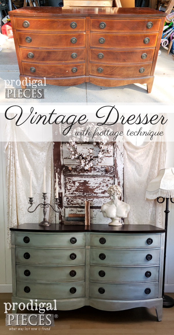 What a difference! This vintage Dixie dresser with bow front style got a facelift using frottage technique to create time-worn wear. Get the DIY details at Prodigal Pieces | prodigalpieces.com #prodigalpieces #diy #furniture #home #homedecor #homedecorideas #vintage