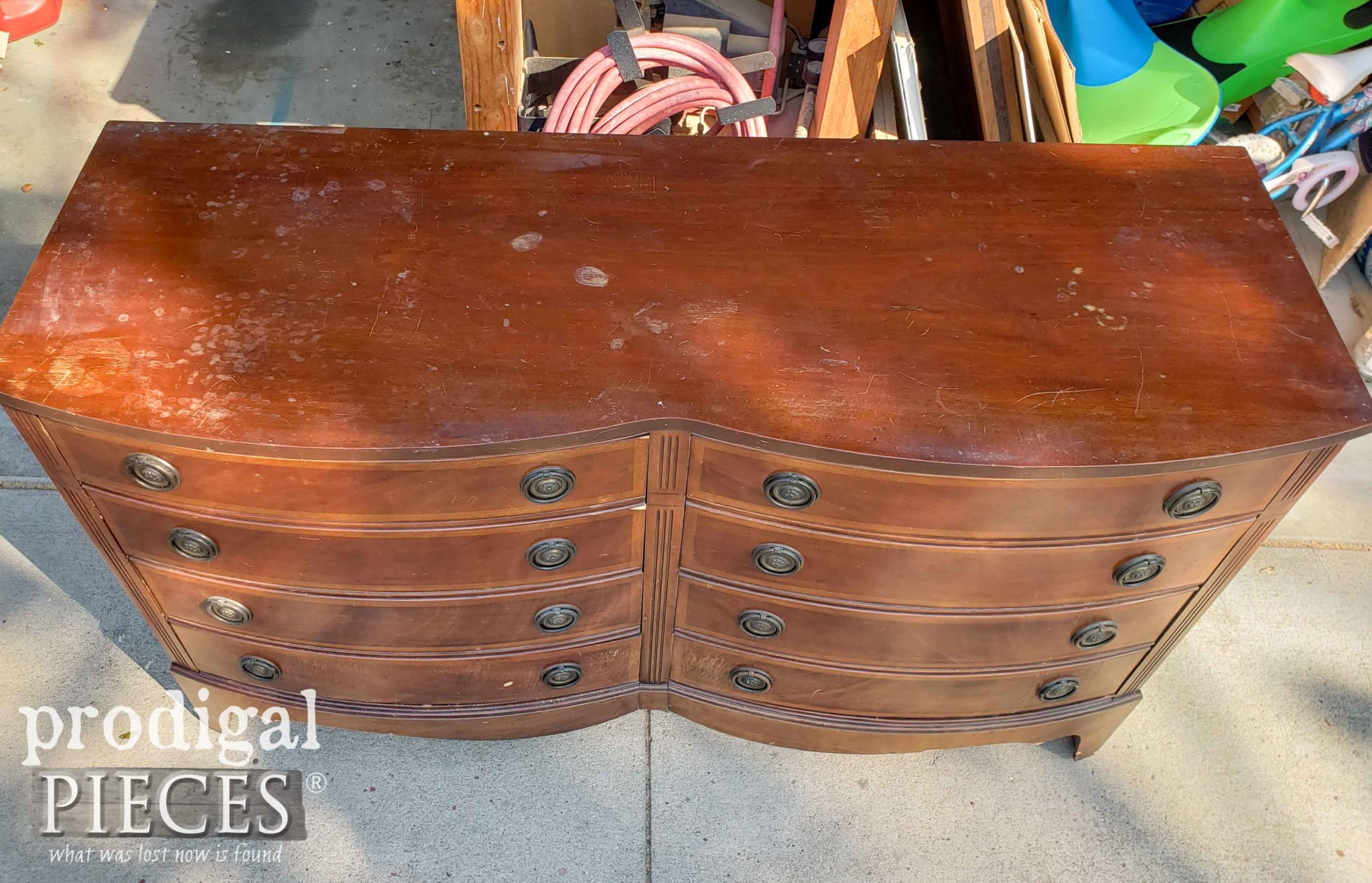Top of Vintage Dixie Dresser with Damage | prodigalpieces.com