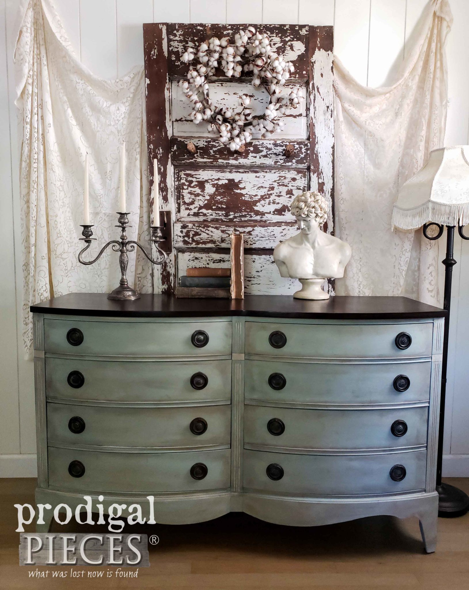 Absolutely Stunning Vintage Dixie Dresser with Frottage Technique by Larissa of Prodigal Pieces | prodigalpieces.com #prodigalpieces #furniture #diy #home #homedecor #homedecorideas